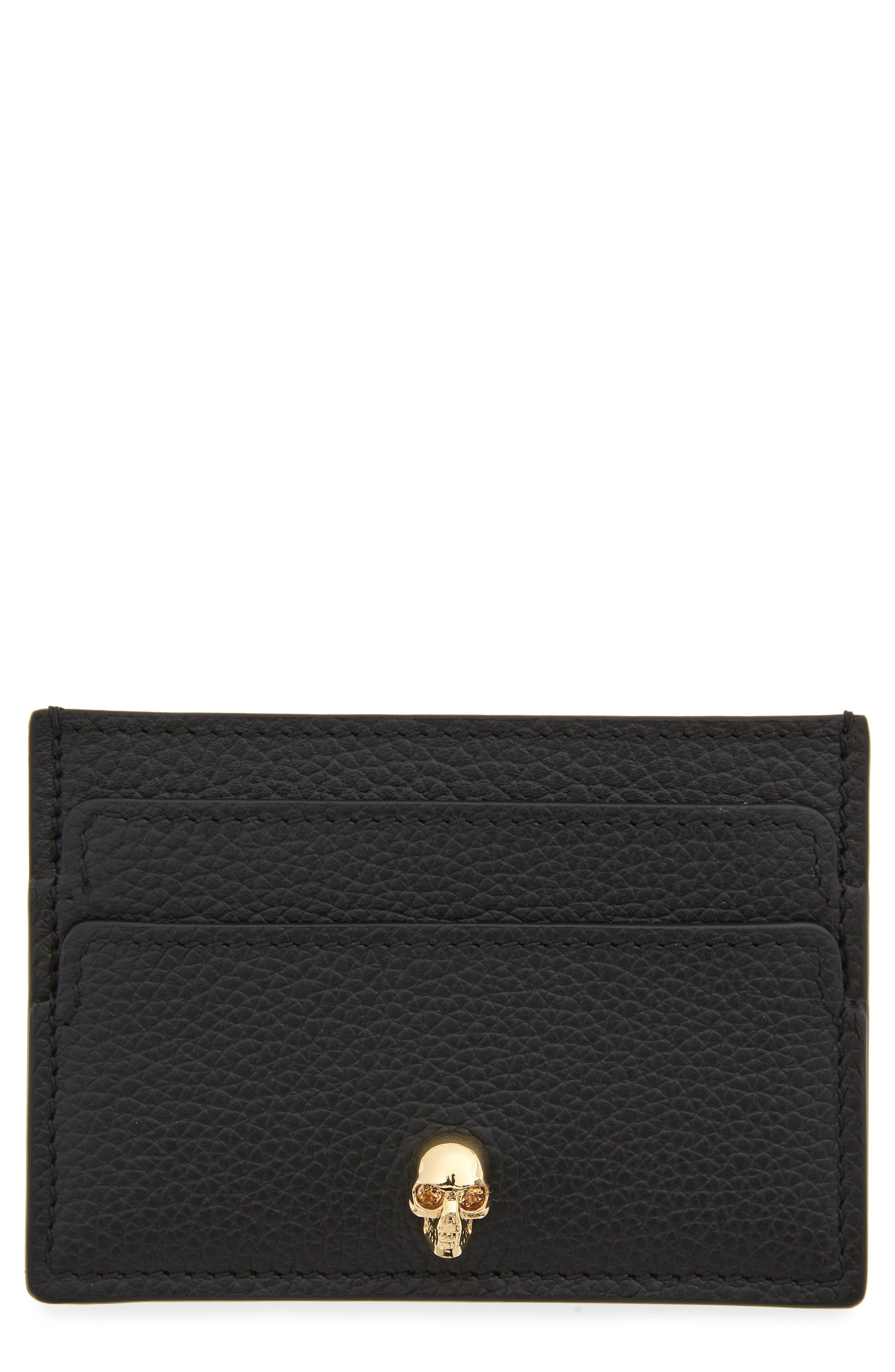 Alexander McQueen Skull Calfskin Leather Card Case