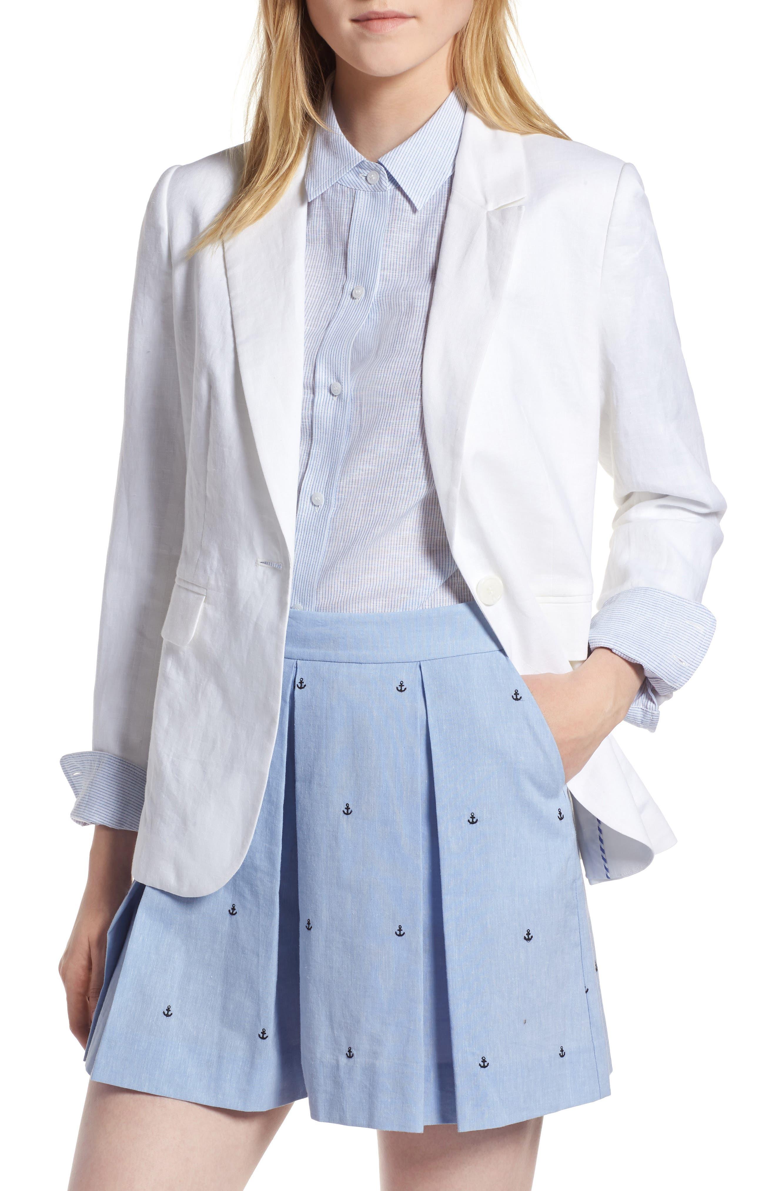 Linen Blend Blazer,                             Main thumbnail 1, color,                             White