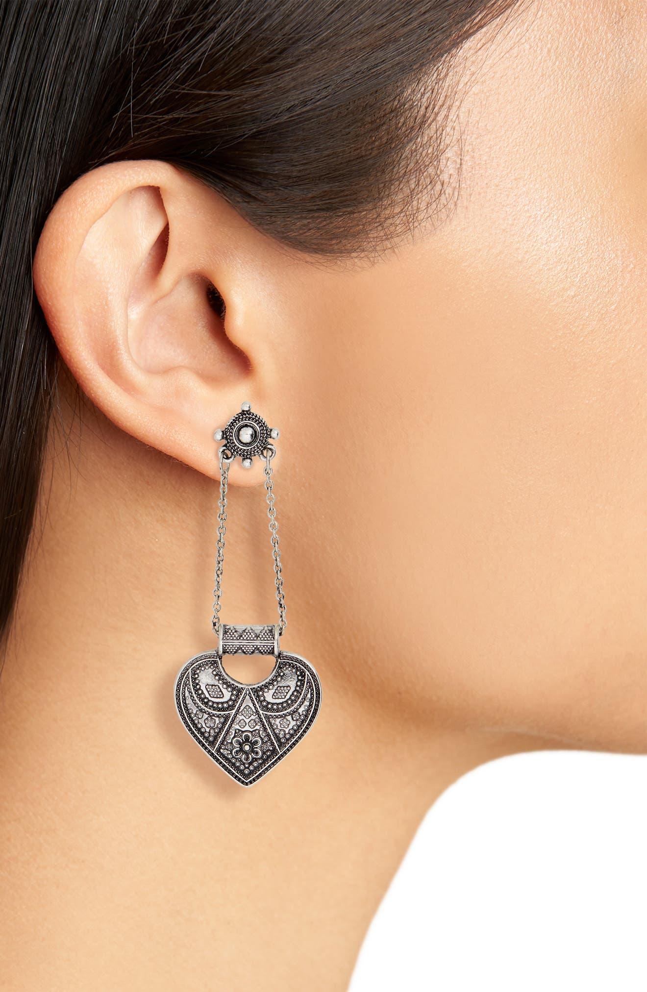Heart Drop Earrings,                             Alternate thumbnail 2, color,                             Burnish Silver