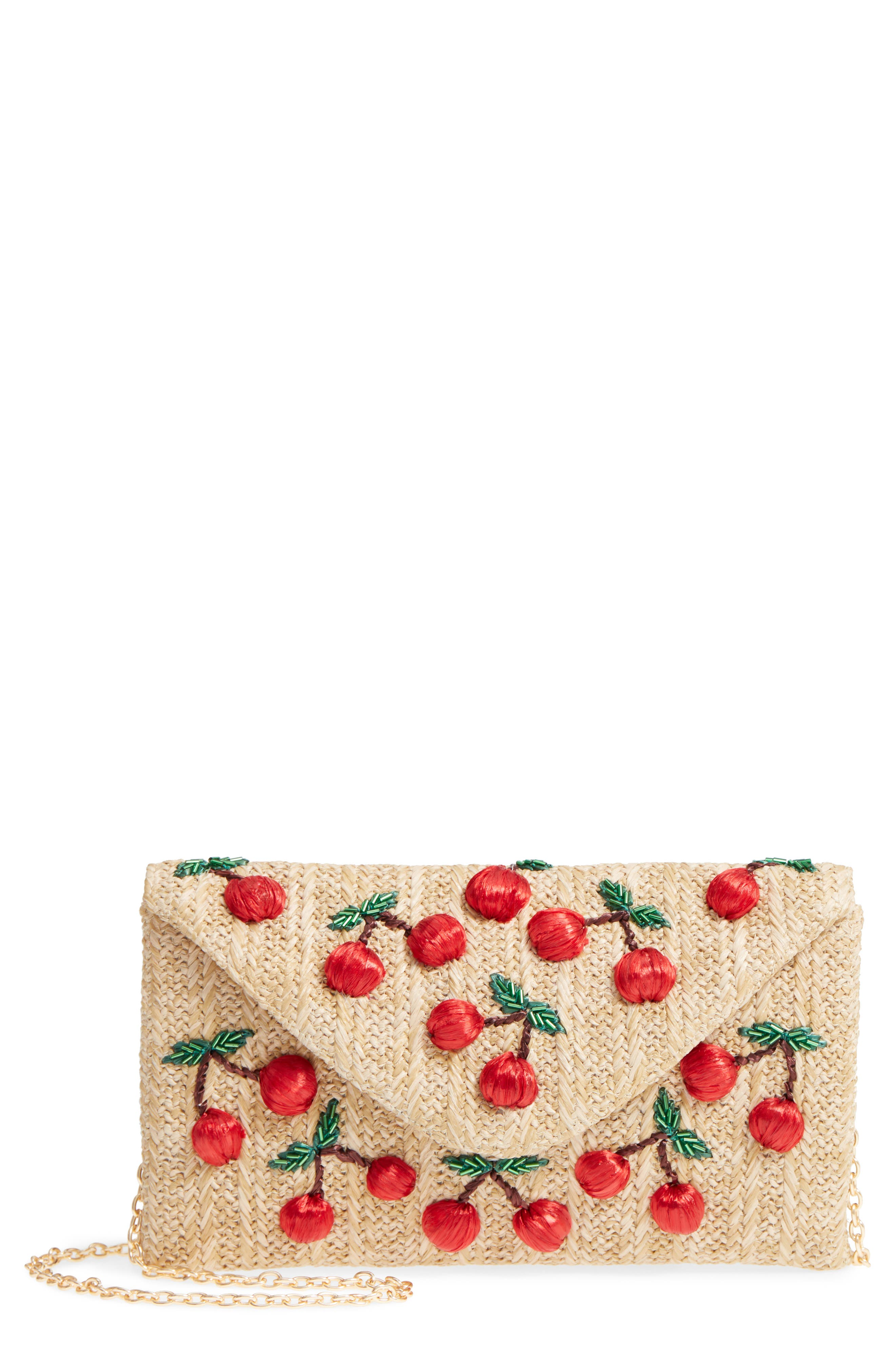 Cherry Embellished Straw Envelope Clutch,                         Main,                         color, Natural