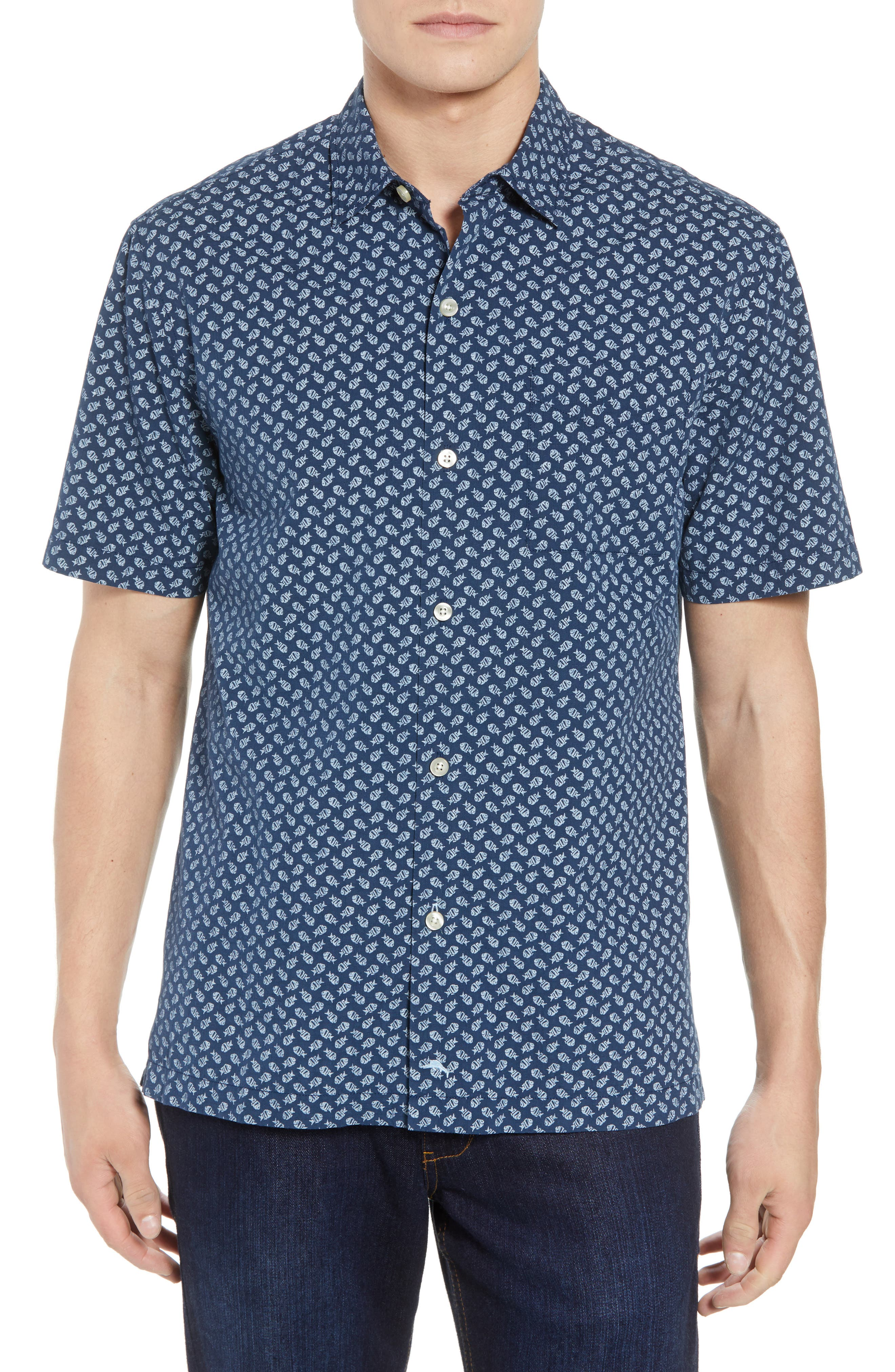A-fish-ianado Cotton & Silk Camp Shirt,                             Main thumbnail 1, color,                             Ocean Deep