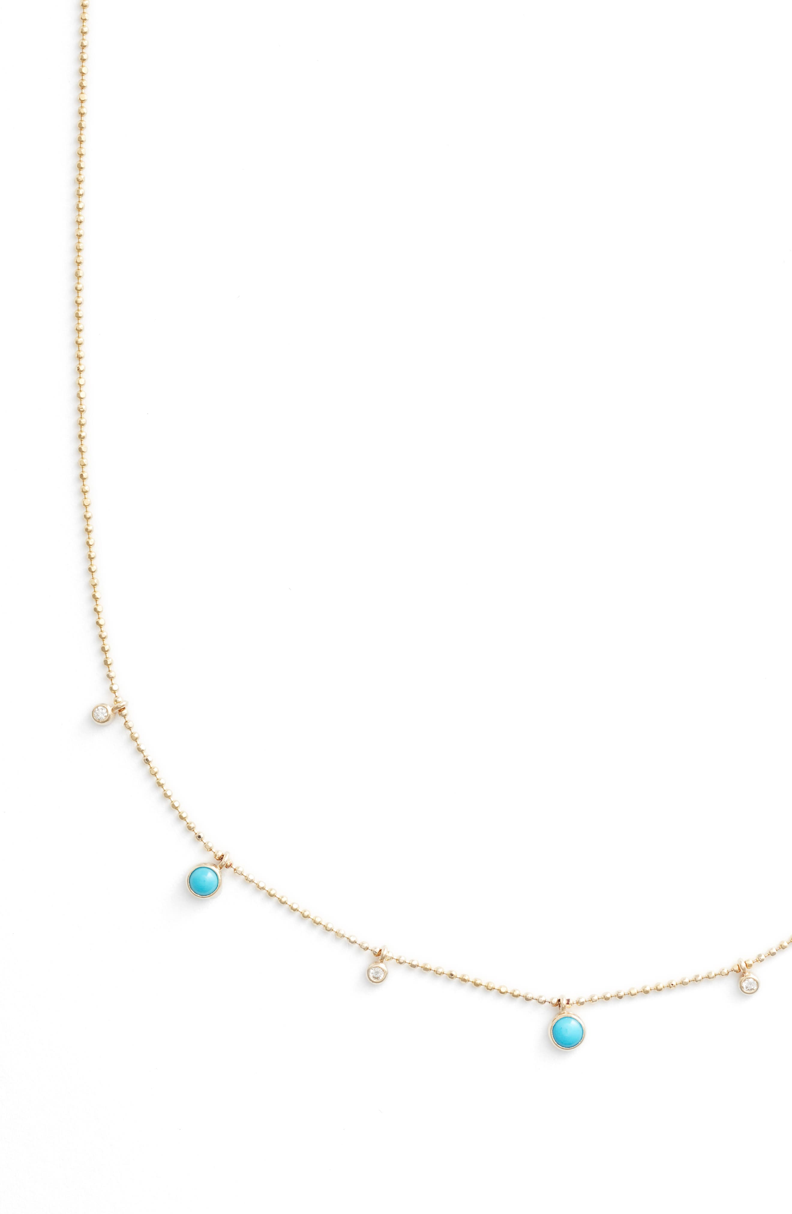 Turquoise & Diamond Station Short Necklace,                             Alternate thumbnail 2, color,                             Yellow Gold