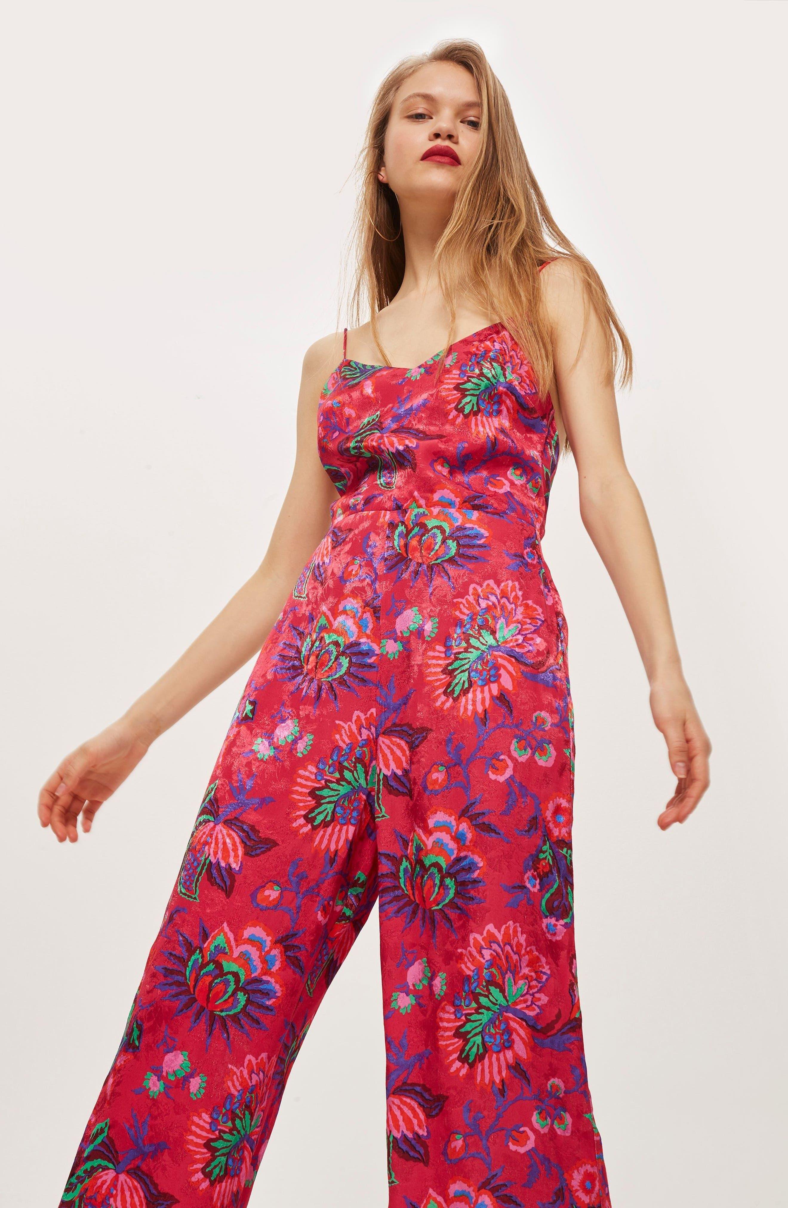 Sleeveless Floral Jumpsuit,                             Alternate thumbnail 2, color,                             Pink Multi