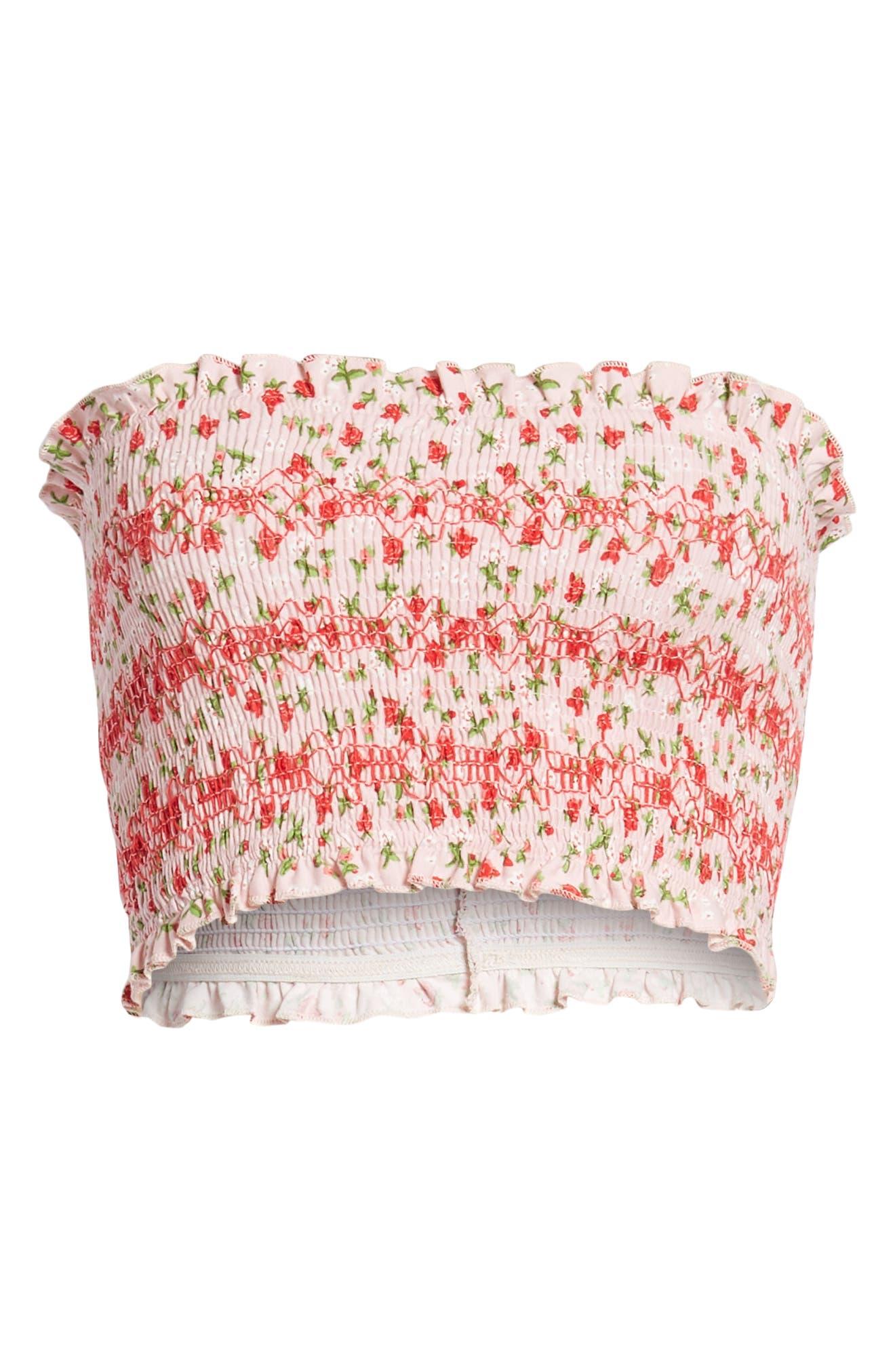 Floral Print Tube Top,                             Alternate thumbnail 3, color,                             Pink Multi