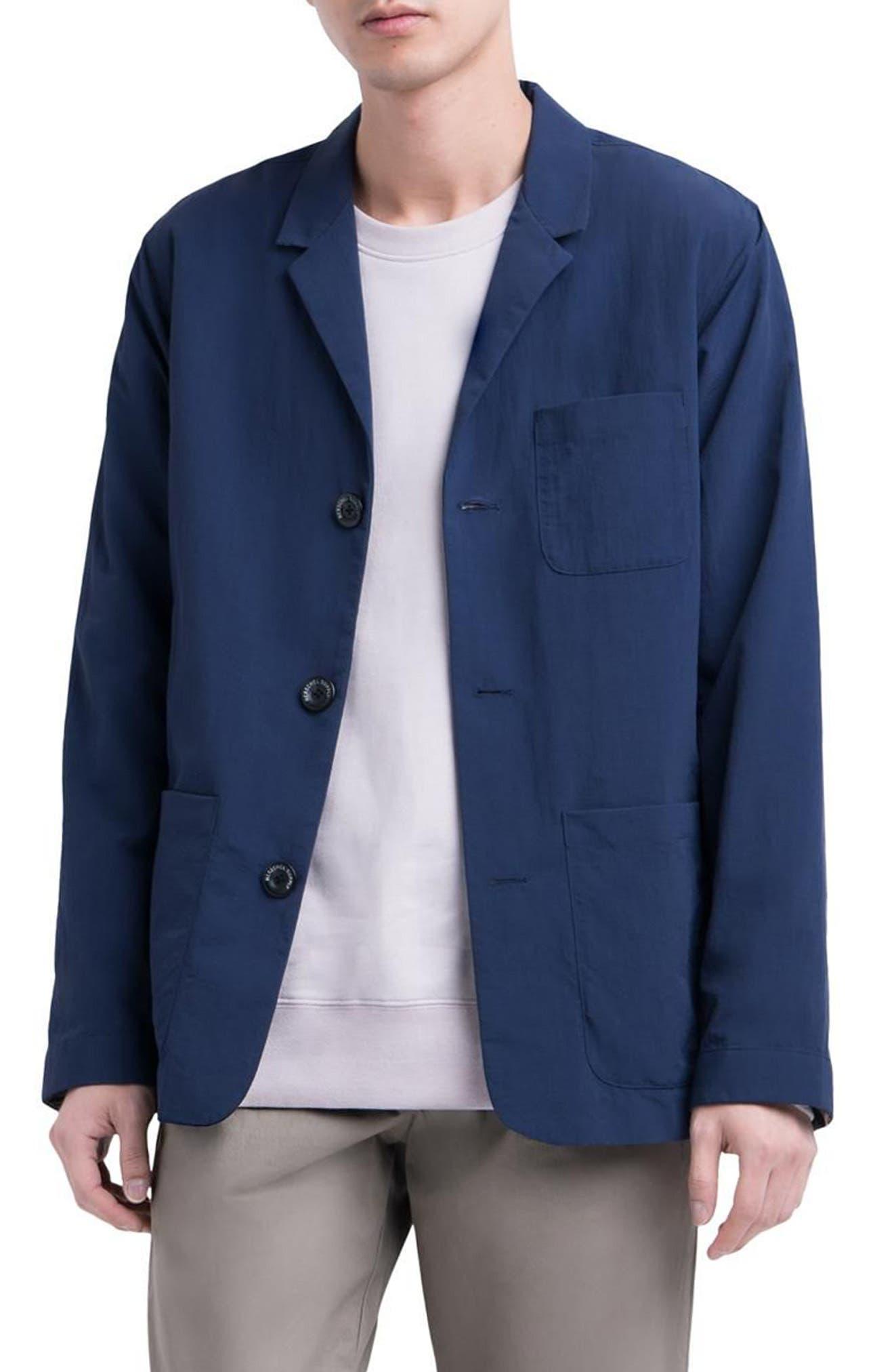Wrinkled Chore Jacket,                         Main,                         color, Peacoat