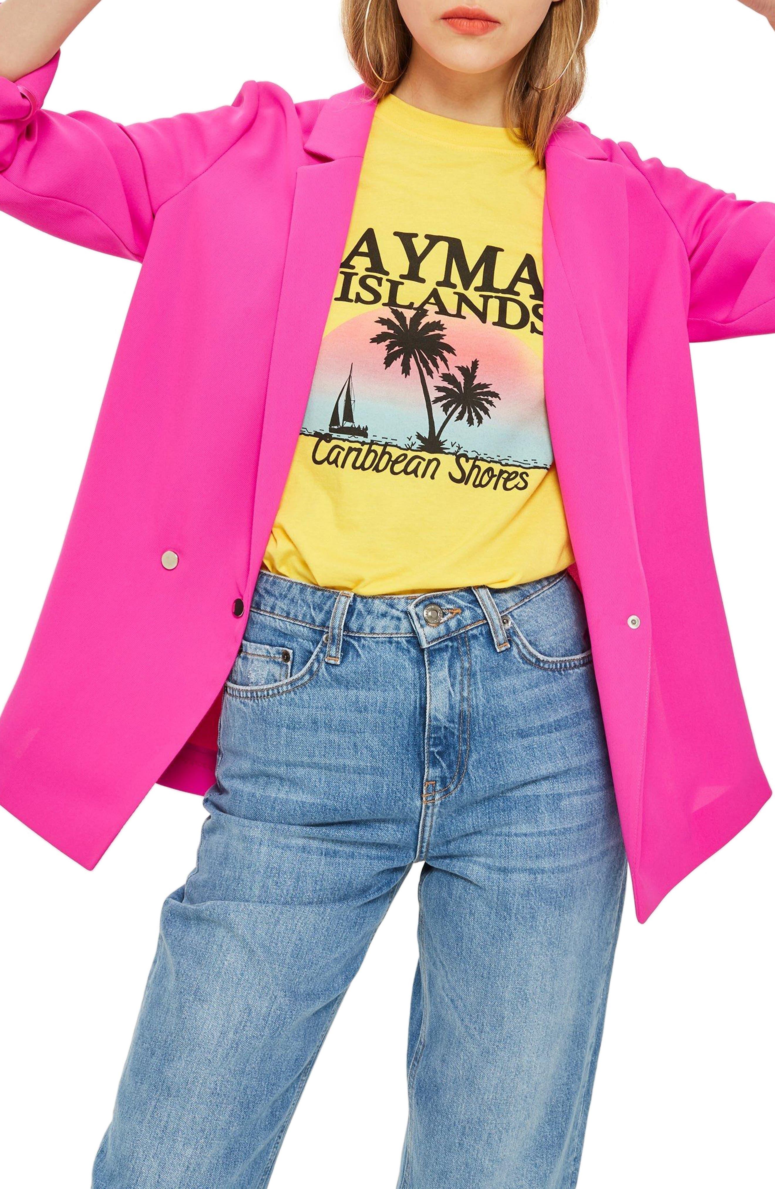 Ava Double Breasted Jacket,                             Main thumbnail 1, color,                             Fuschia