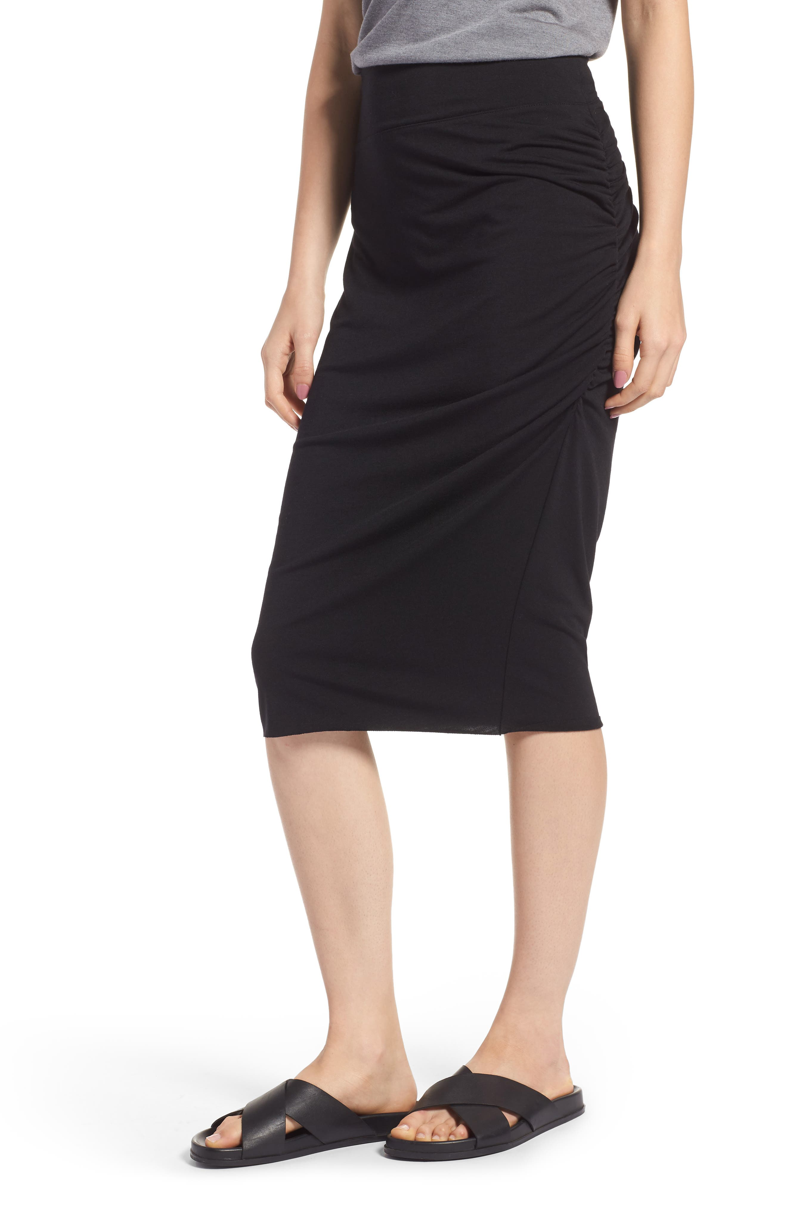 Ruched Knit Midi Skirt,                         Main,                         color, Black