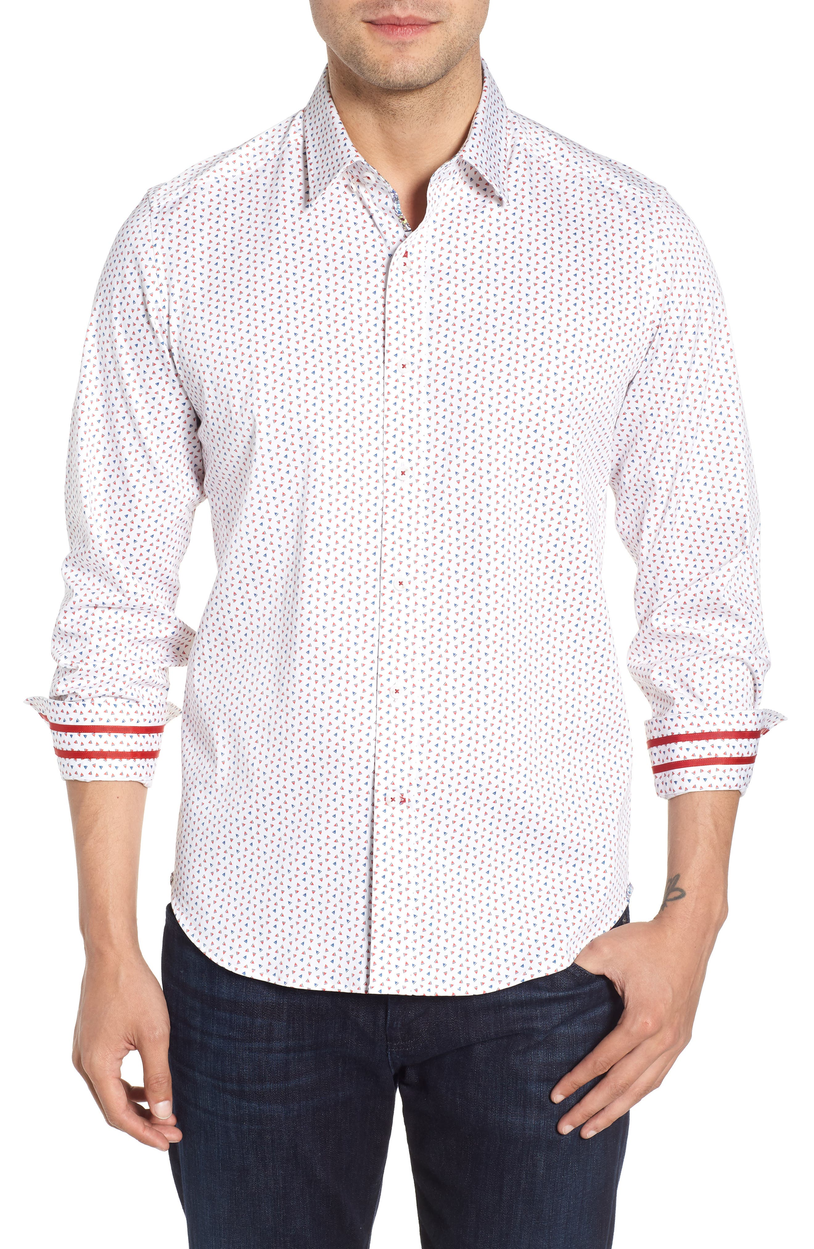 Mitchel Tailored Fit Sport Shirt,                             Main thumbnail 1, color,                             Red