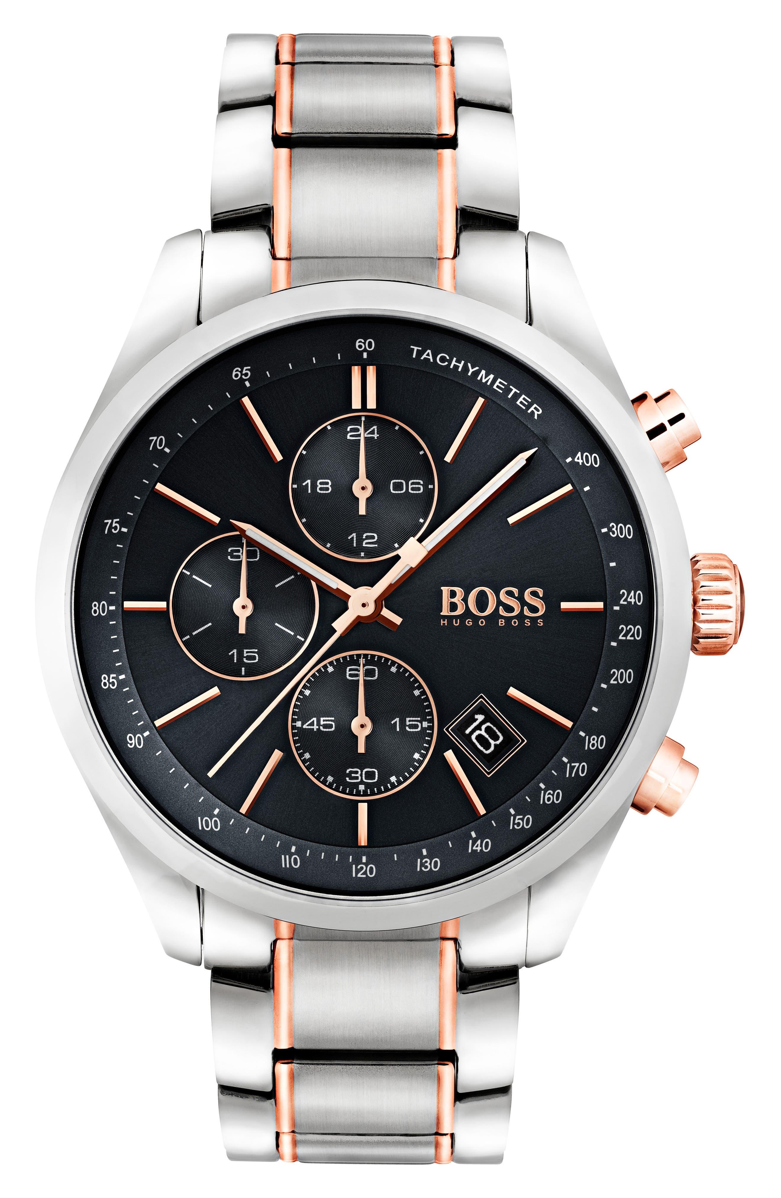 Grand Prix Chronograph Bracelet Watch, 44mm,                         Main,                         color, Black/ Silver