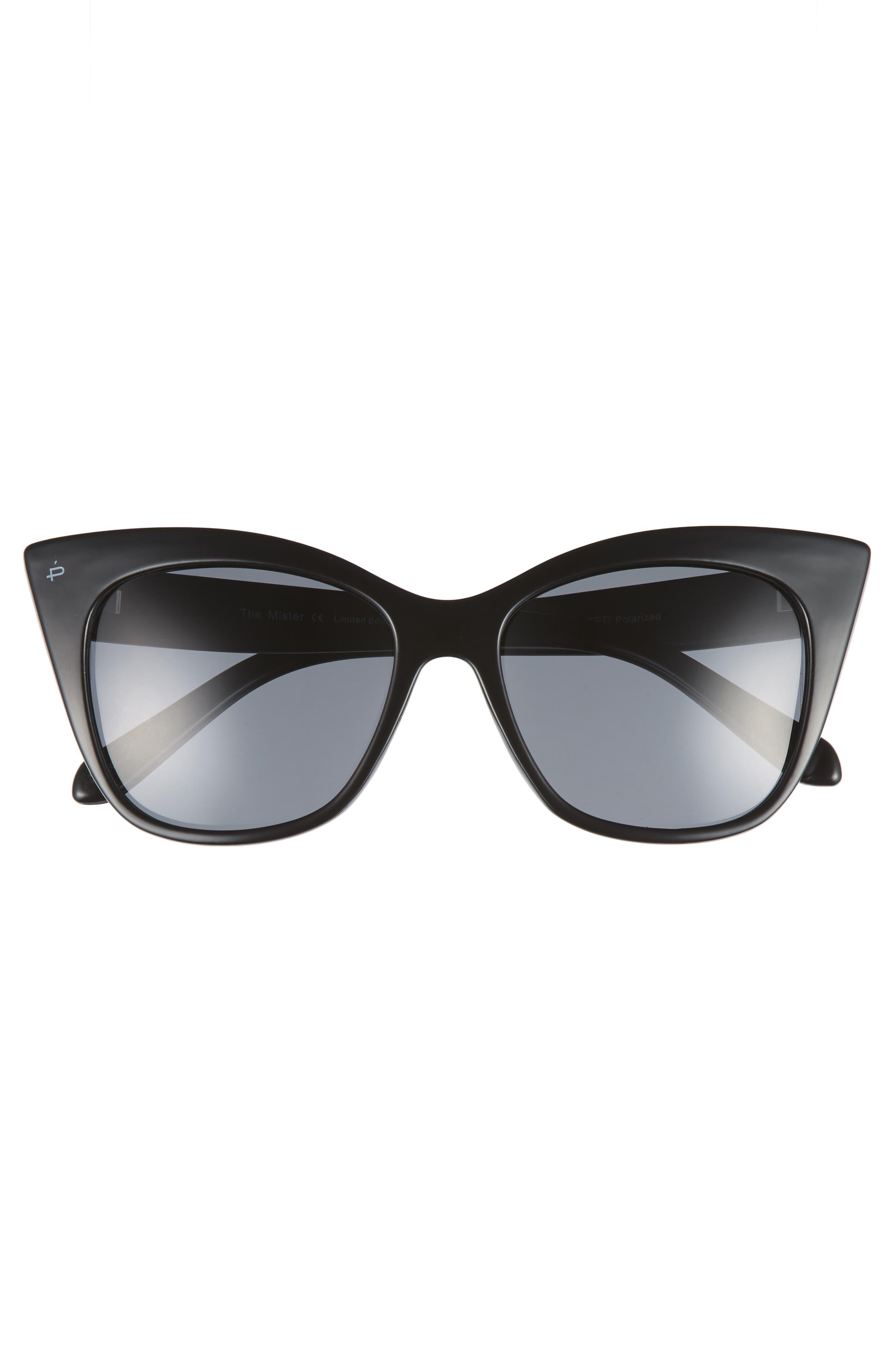 Privé Revaux x Madelaine Petsch The Mister 54mm Cat Eye Sunglasses,                             Alternate thumbnail 4, color,                             Black/ Black