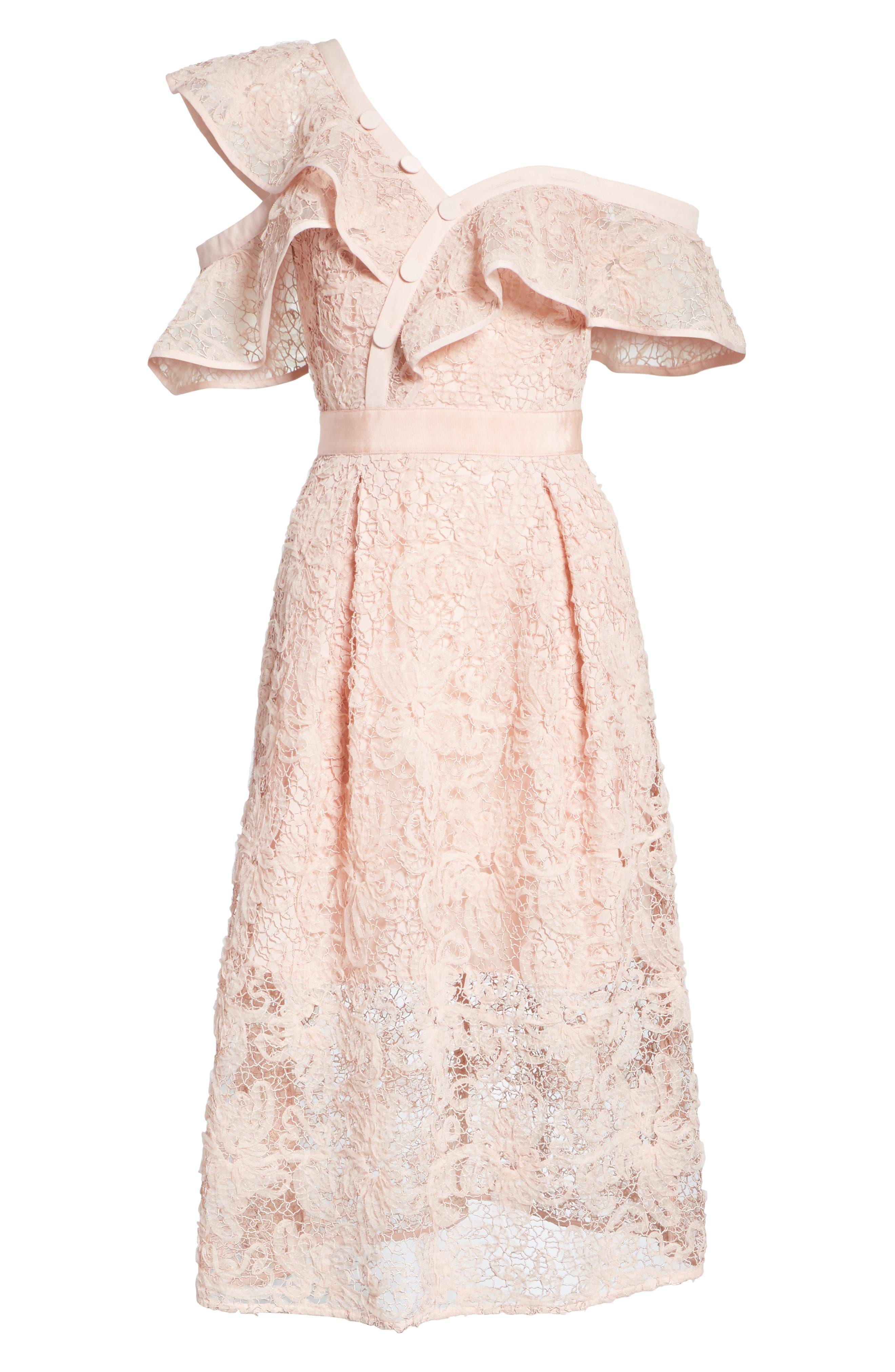 Lace Shoulder Cutout Midi Dress,                             Alternate thumbnail 6, color,                             Pink