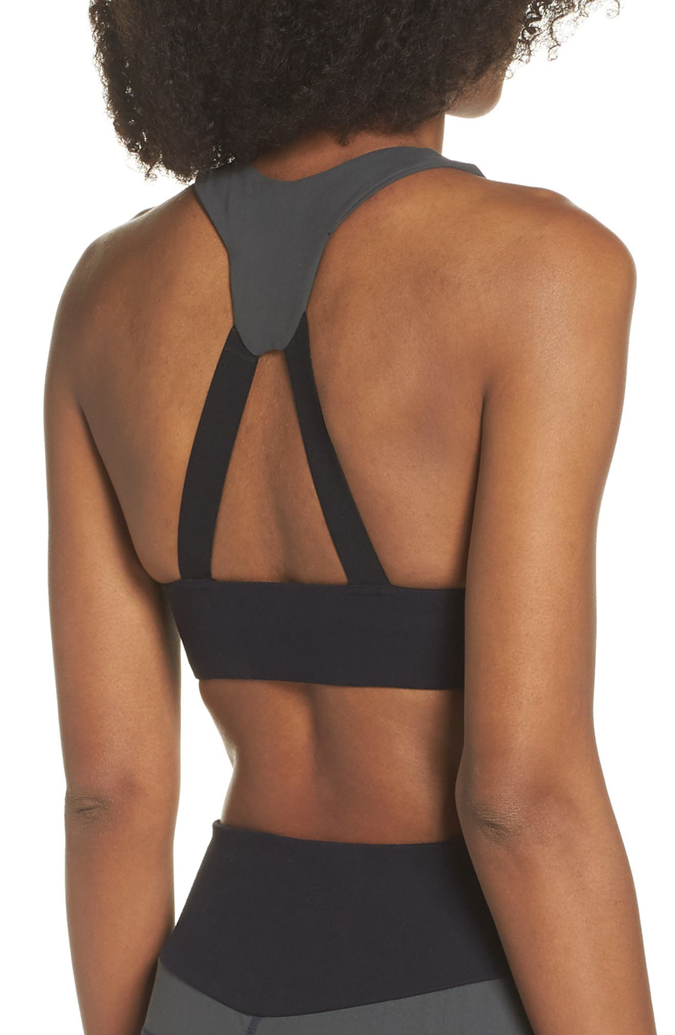 BoomBoom Athletica Brushed Tricolor Bra,                             Alternate thumbnail 2, color,                             Navy/ Black/ Green