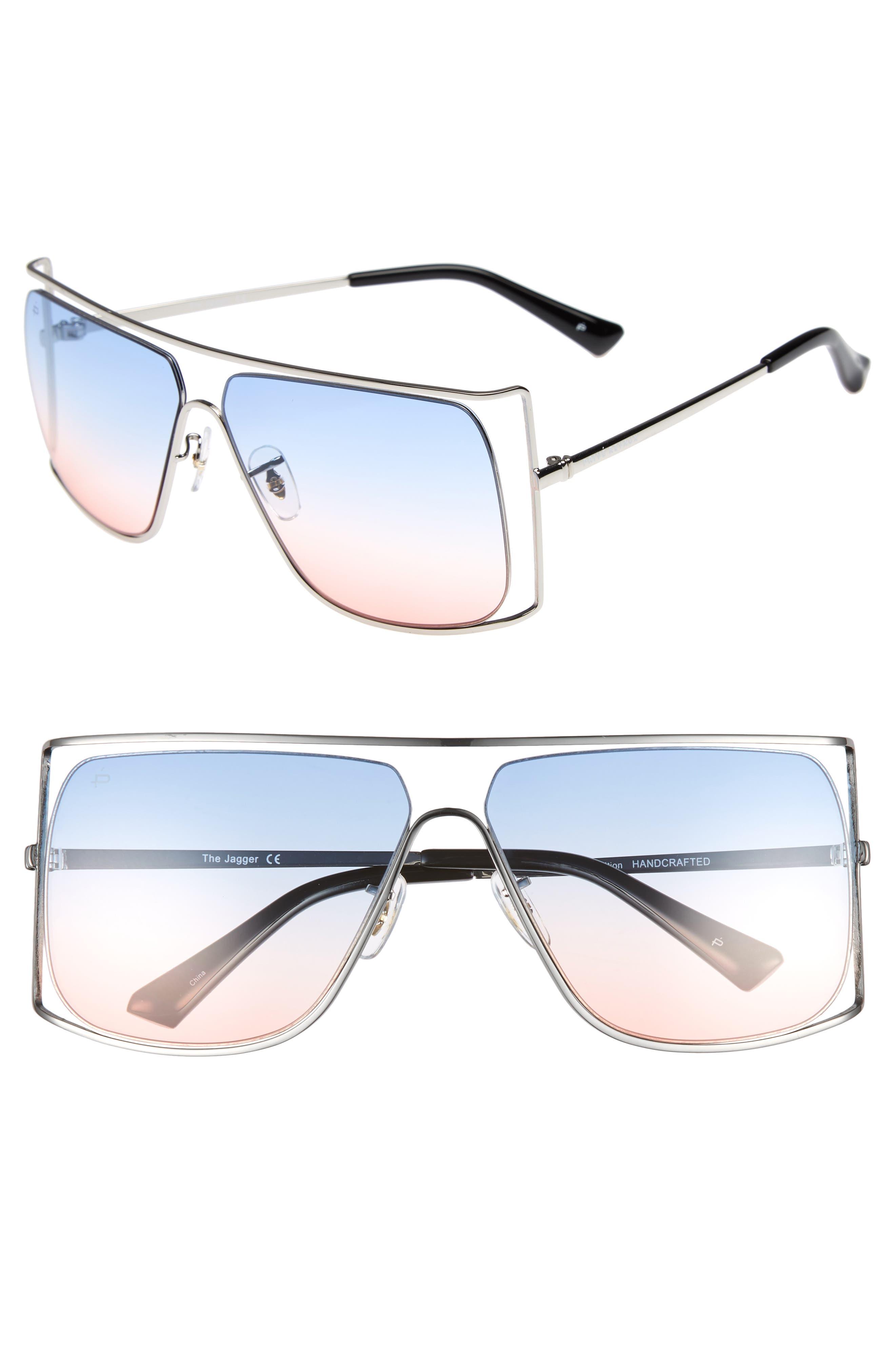 Privé Revaux The Jagger 60mm Square Sunglasses,                             Main thumbnail 1, color,                             Silver