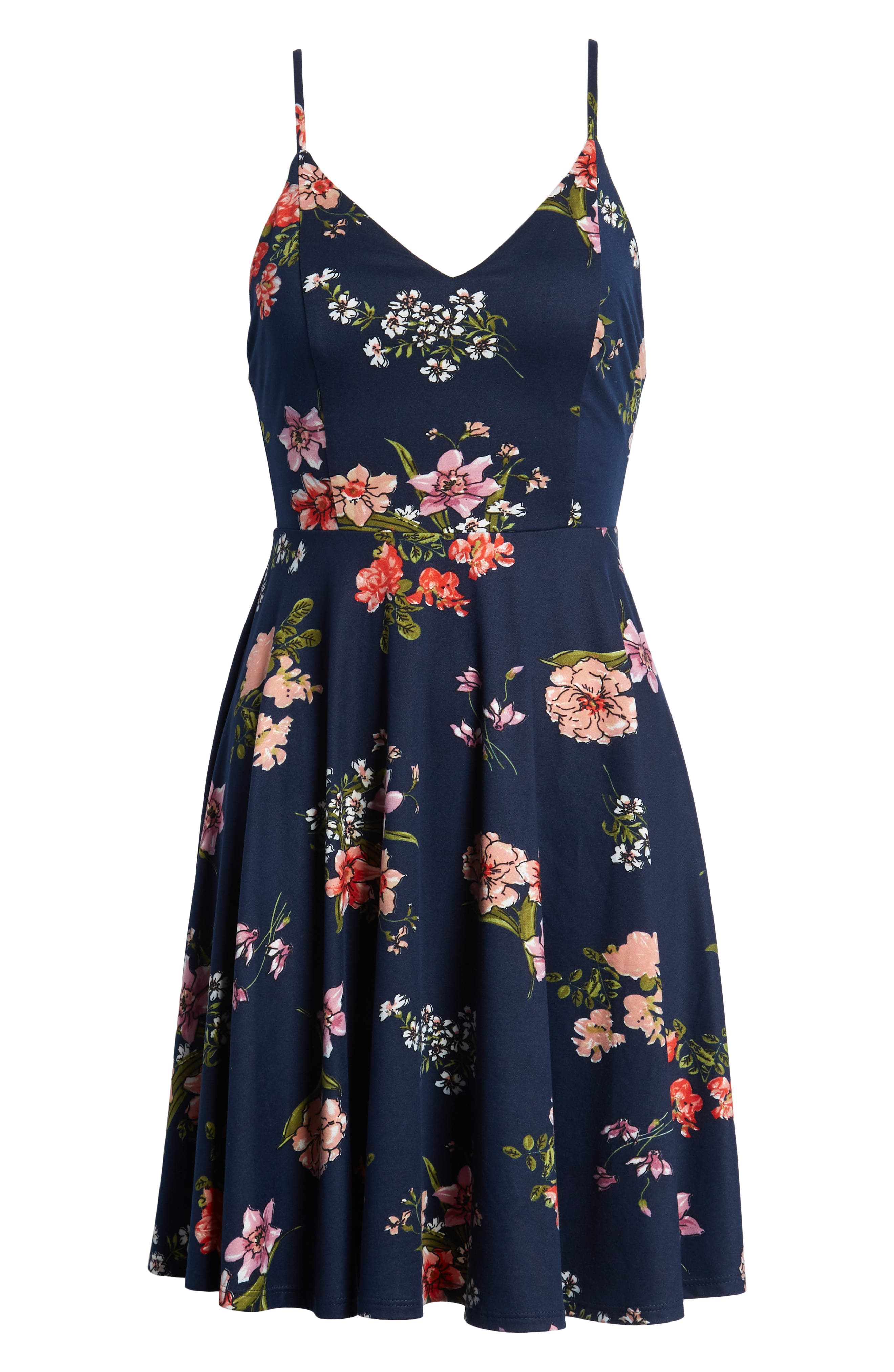 Floral Print Strappy Skater Dress,                             Alternate thumbnail 7, color,                             Navy