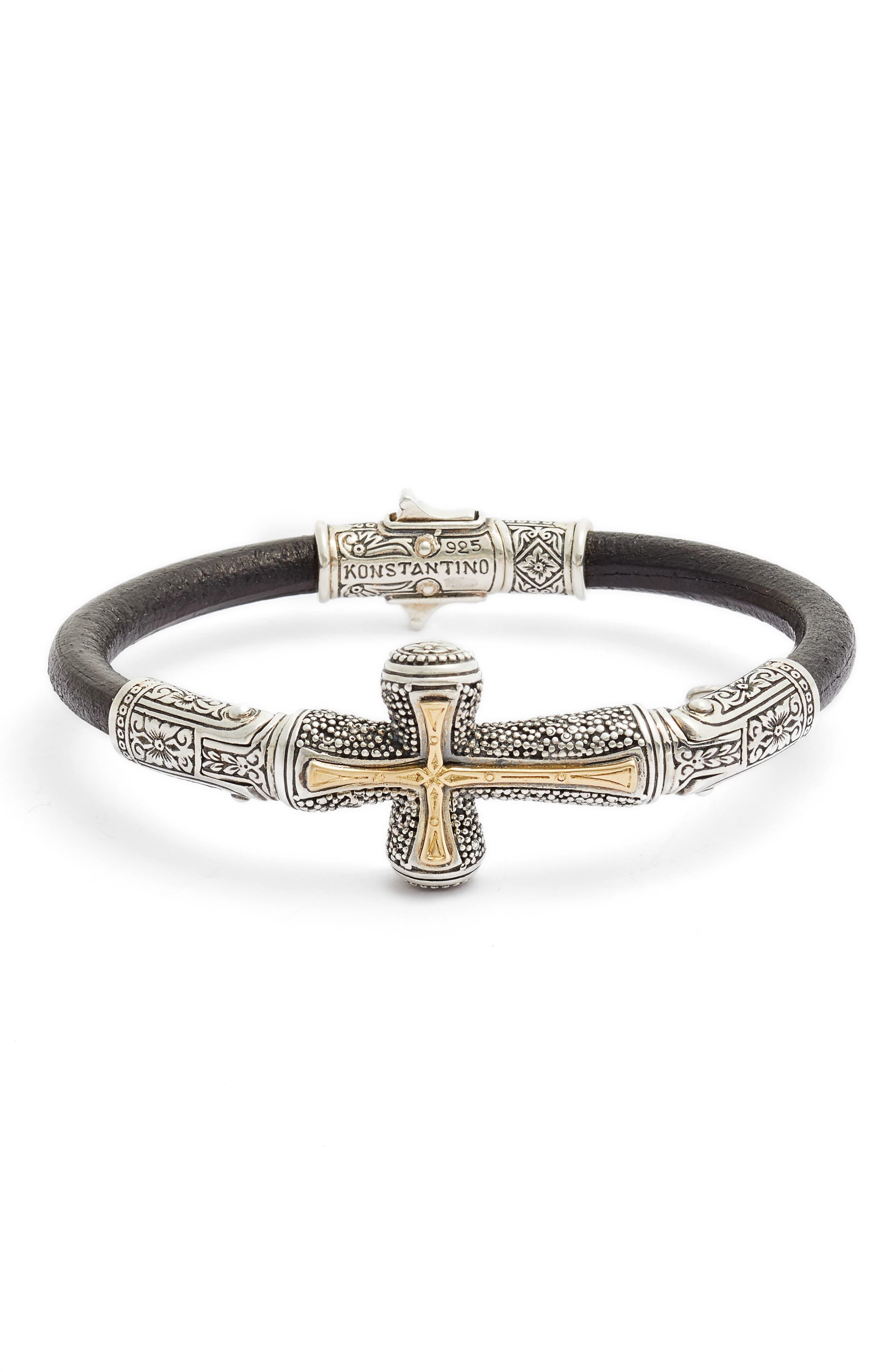 Konstantino Stavros Cross Leather Bracelet