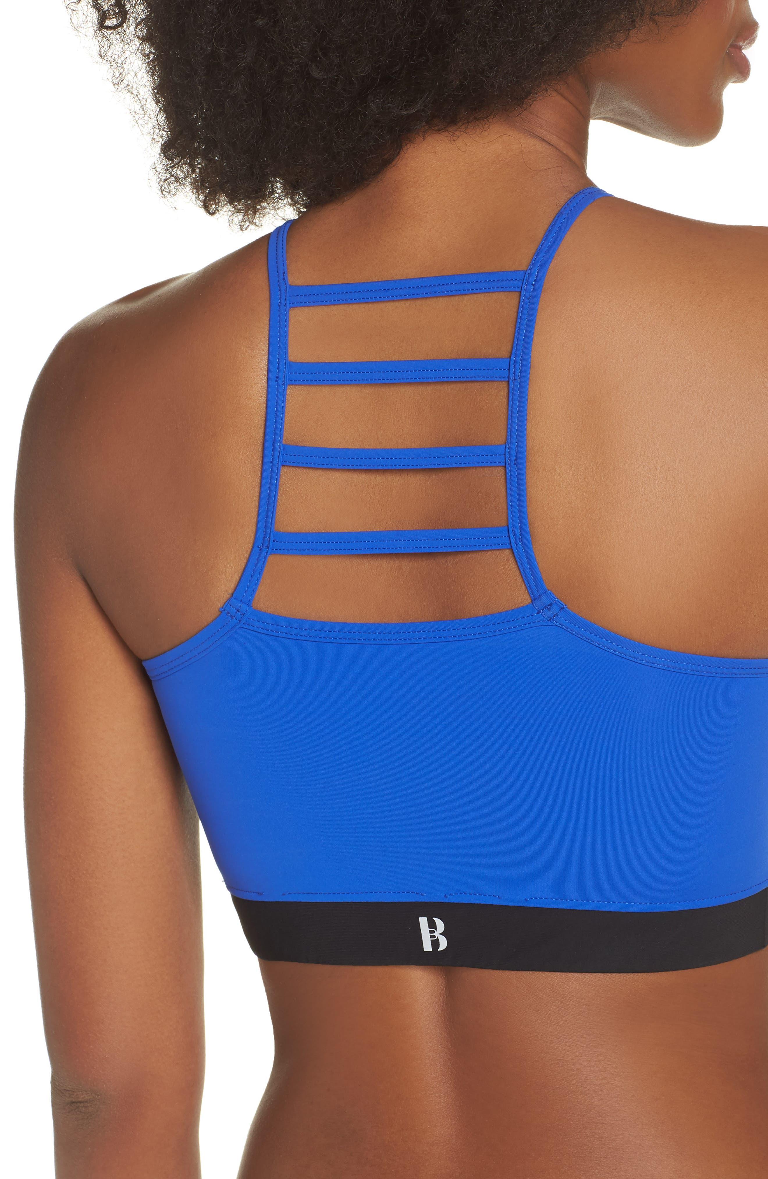 BoomBoom Athletica Cutaway Halter Bra,                             Alternate thumbnail 4, color,                             Electric Blue/ Black