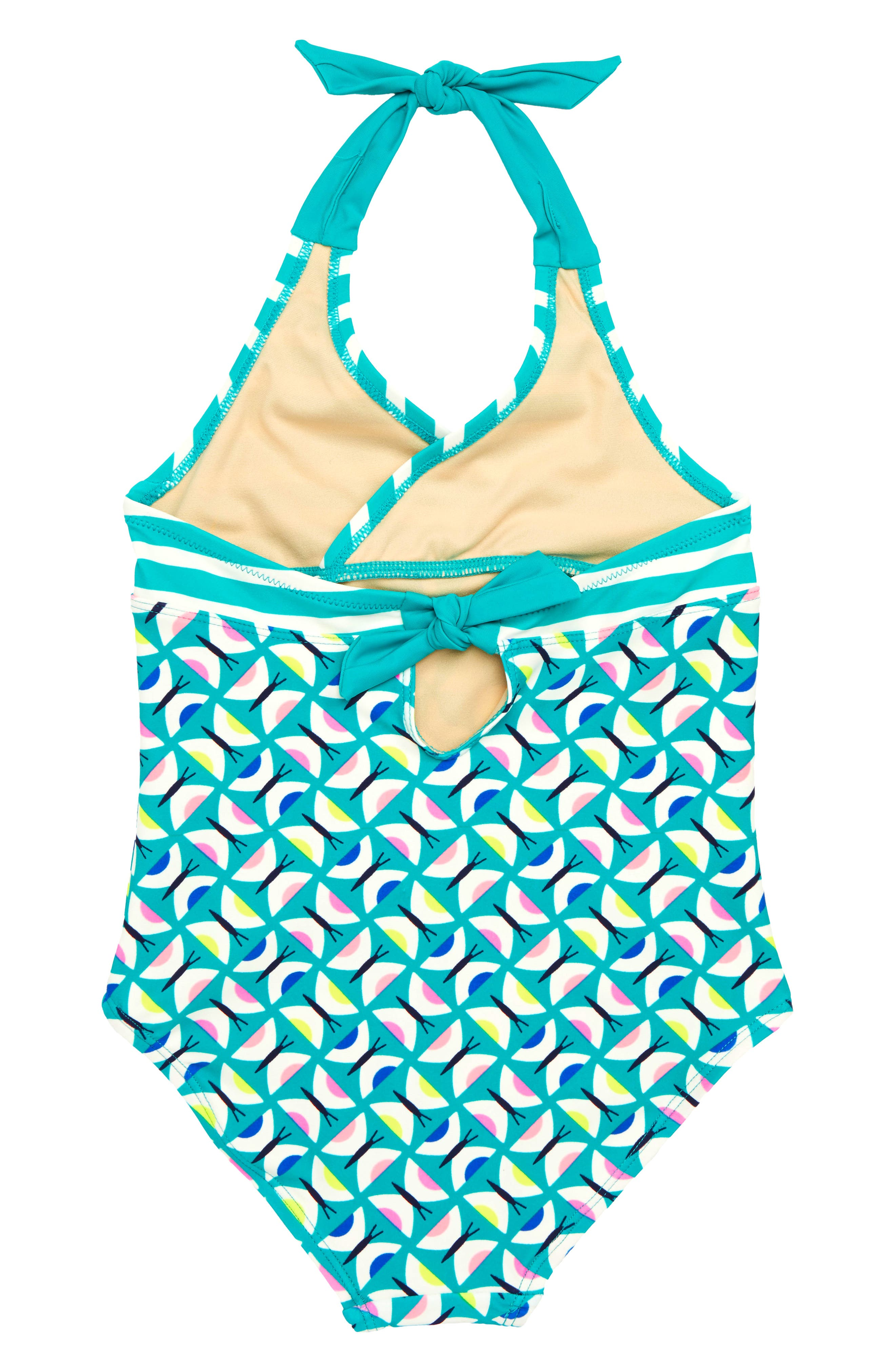 Halter One-Piece Swimsuit,                             Alternate thumbnail 2, color,                             Geo Butterflies
