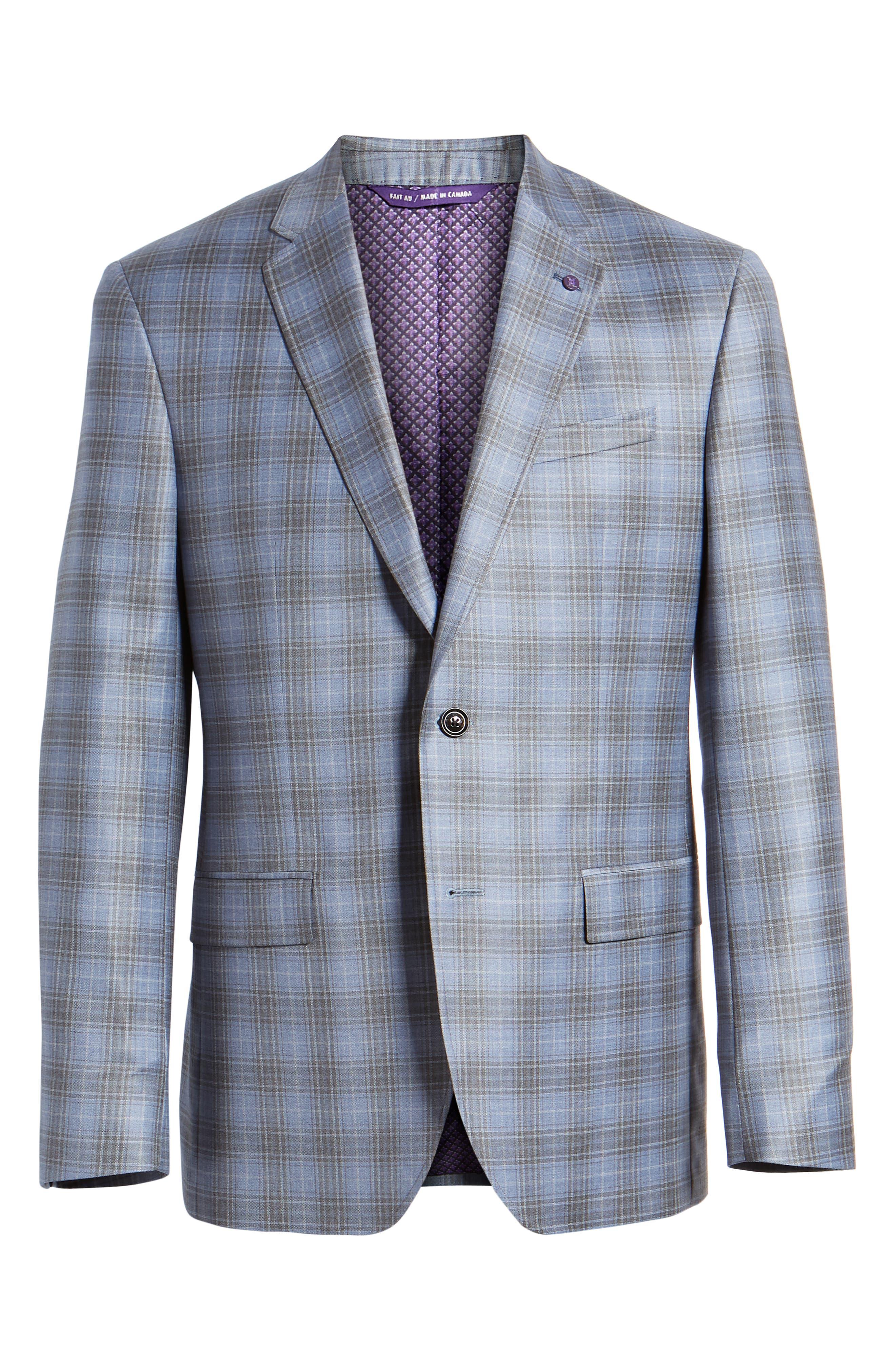 Jay Trim Fit Plaid Wool Sport Coat,                             Alternate thumbnail 6, color,                             Light Blue