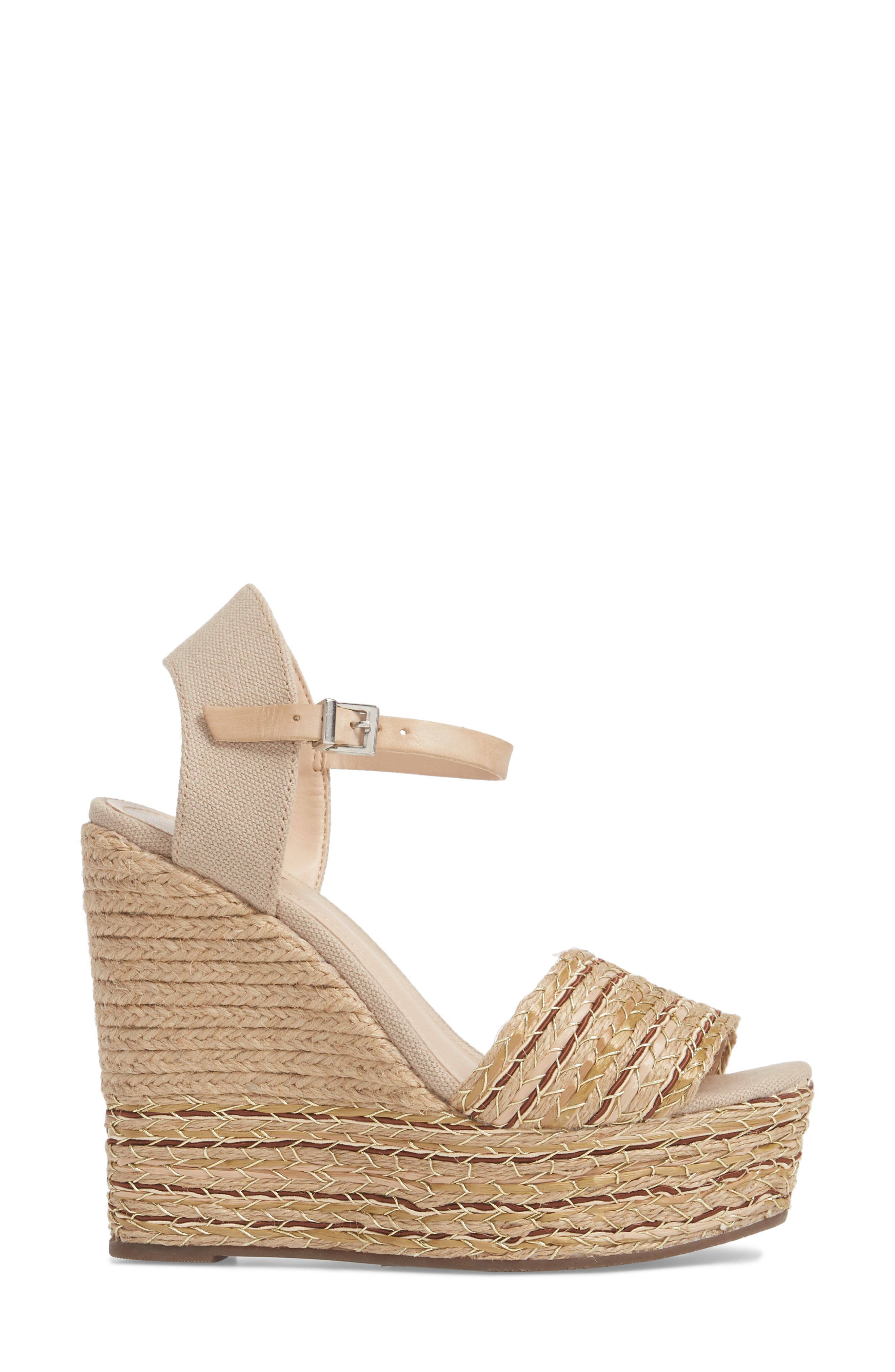 Rilark Platform Wedge Sandal,                             Alternate thumbnail 3, color,                             Coco Fabric