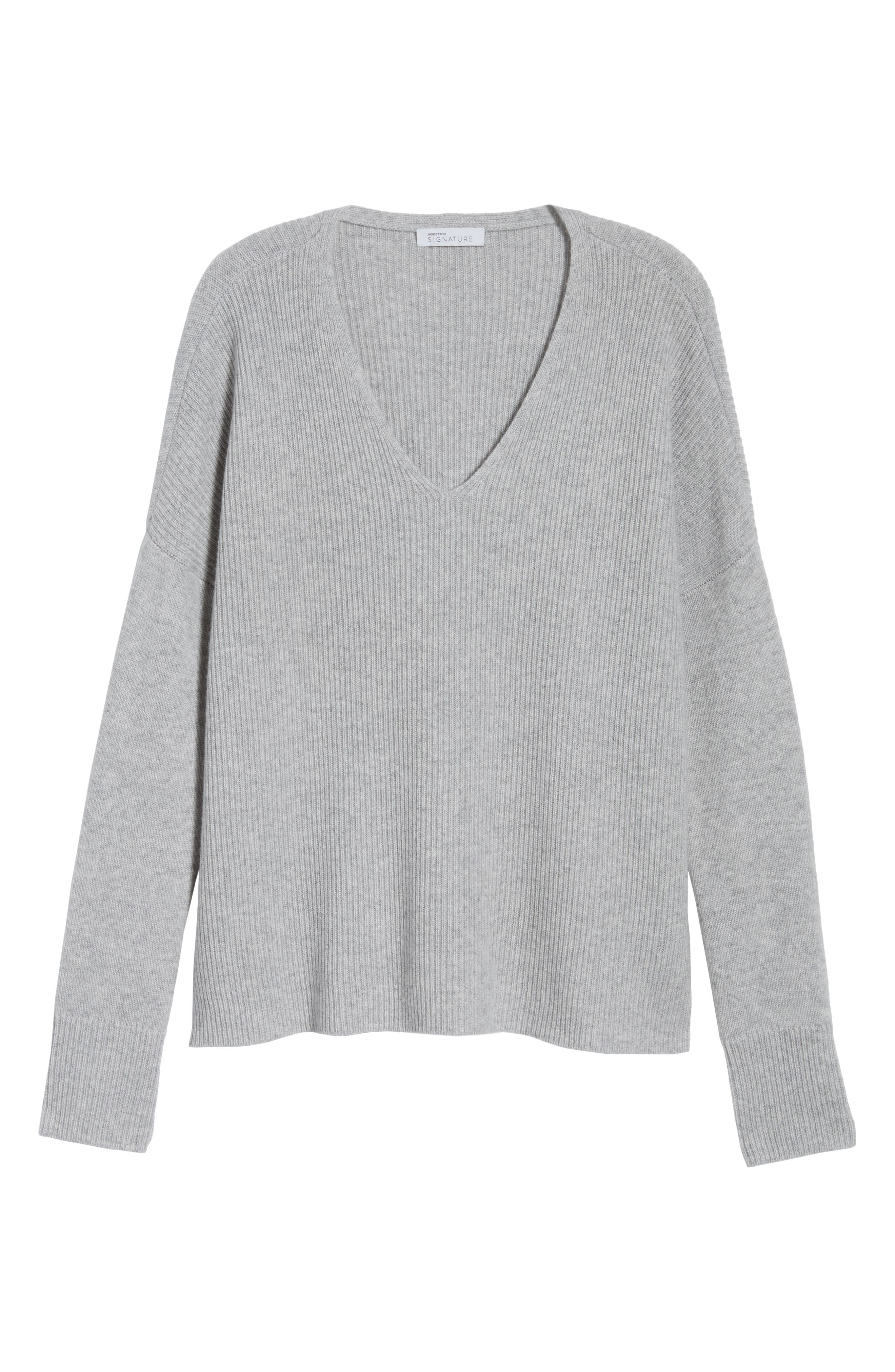 Cashmere Soft Ribbed Pullover Sweater,                             Alternate thumbnail 6, color,                             Grey Clay Heather