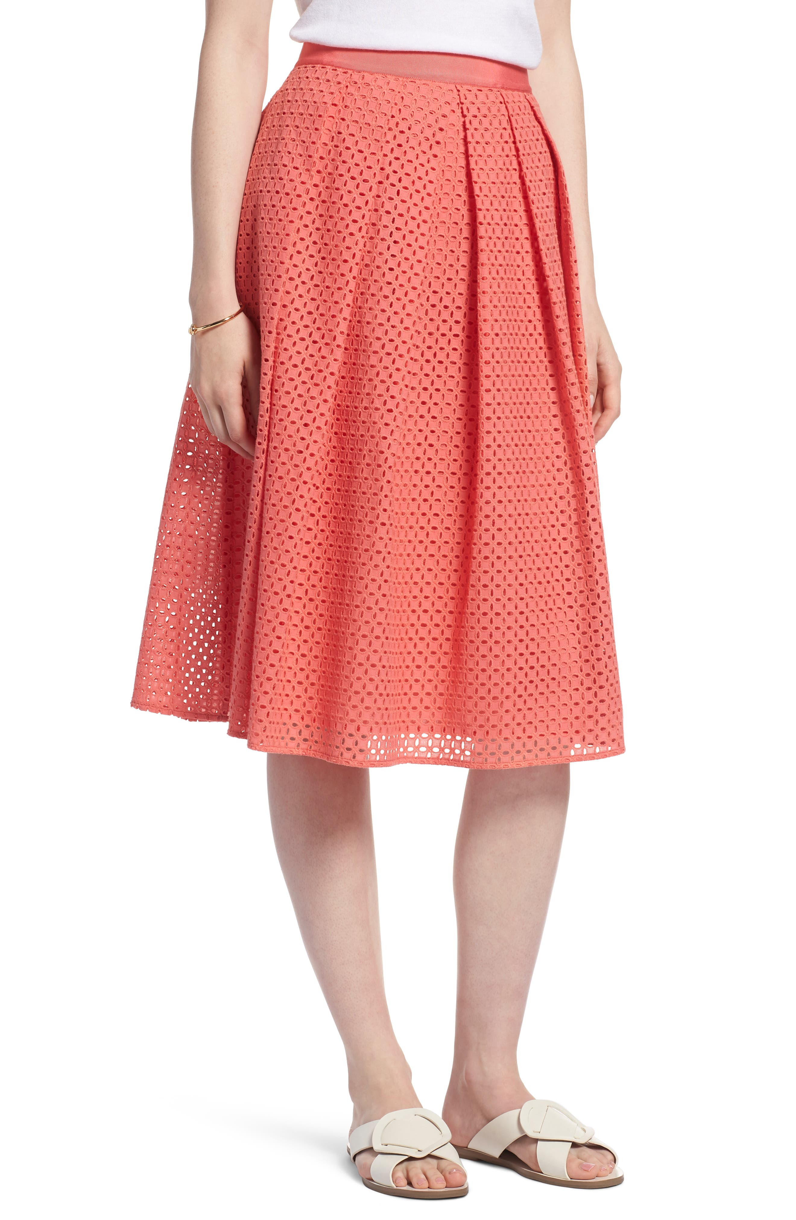 Eyelet A-Line Skirt,                             Main thumbnail 1, color,                             Coral Sugar