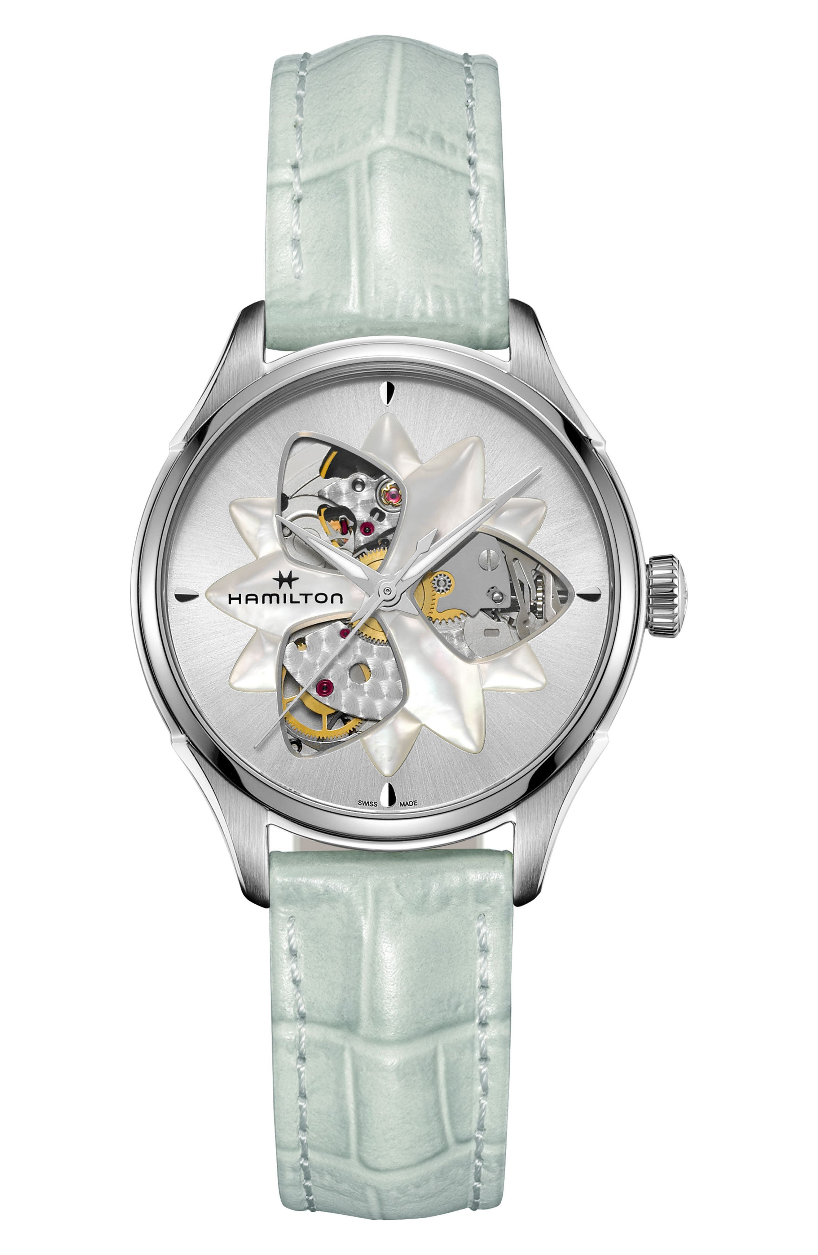 JAZZMASTER OPEN HEART AUTOMATIC LEATHER STRAP WATCH, 34MM