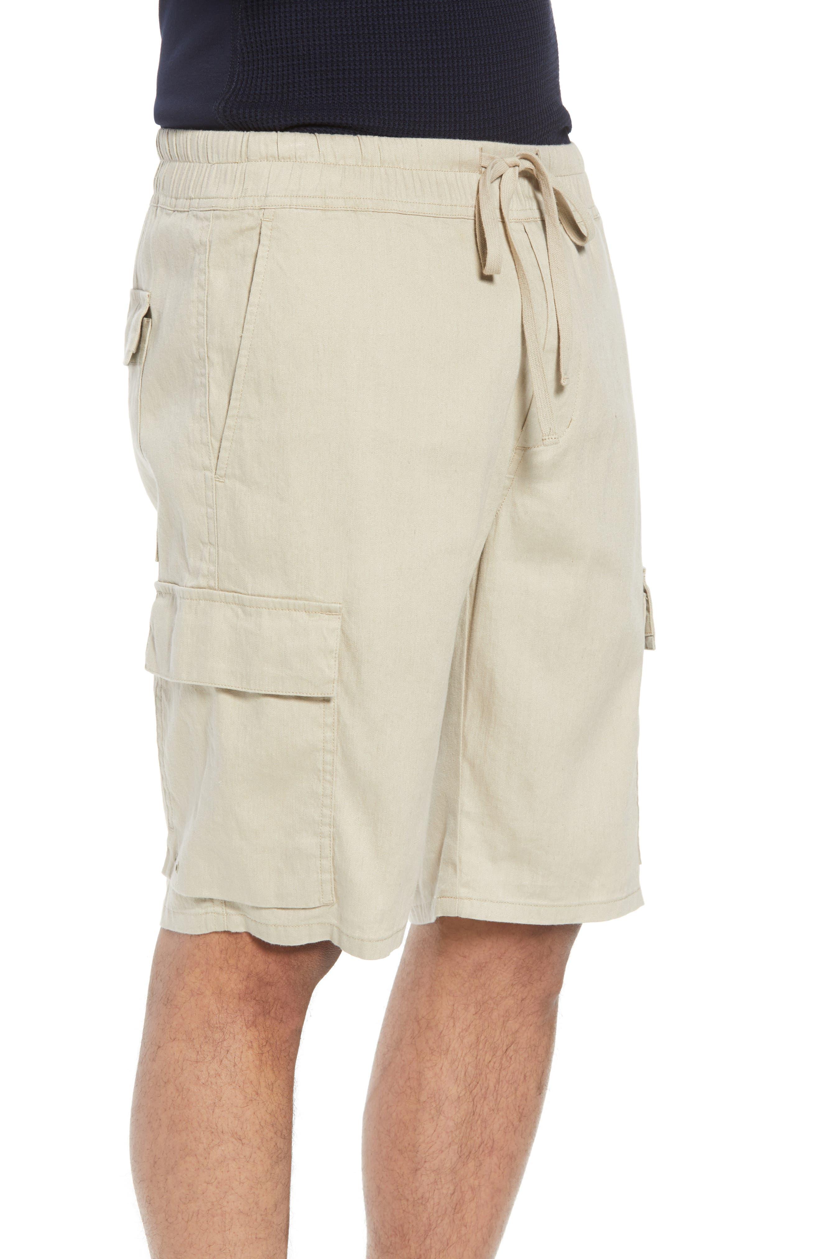 Stretch Linen & Cotton Cargo Shorts,                             Alternate thumbnail 3, color,                             Flax