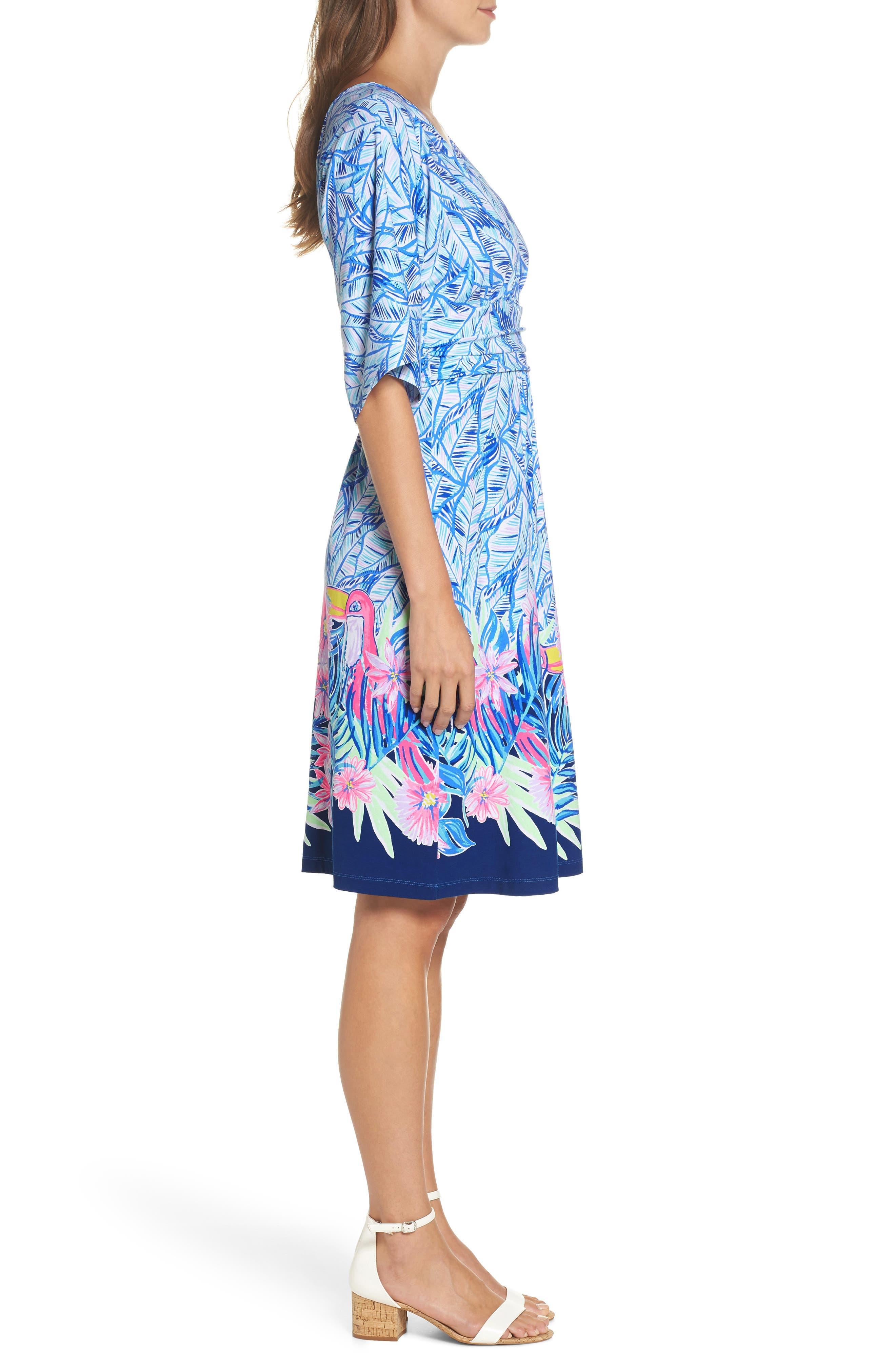 Parigi Print Dress,                             Alternate thumbnail 3, color,                             Bennet Blue Lets Mango