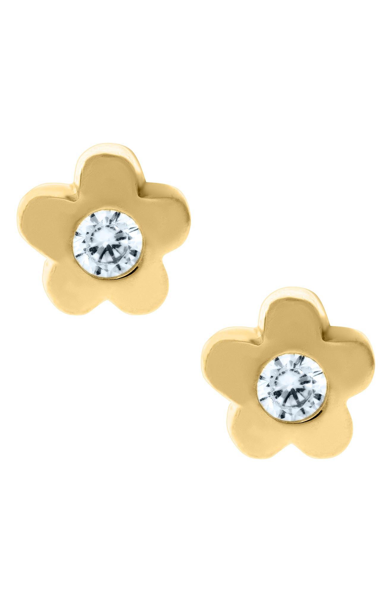 14k Gold & Cubic Zirconia Flower Earrings,                             Main thumbnail 1, color,                             Gold