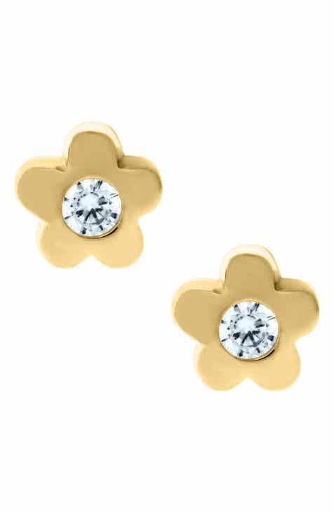 Mignonette 14k Gold Cubic Zirconia Flower Earrings Baby S
