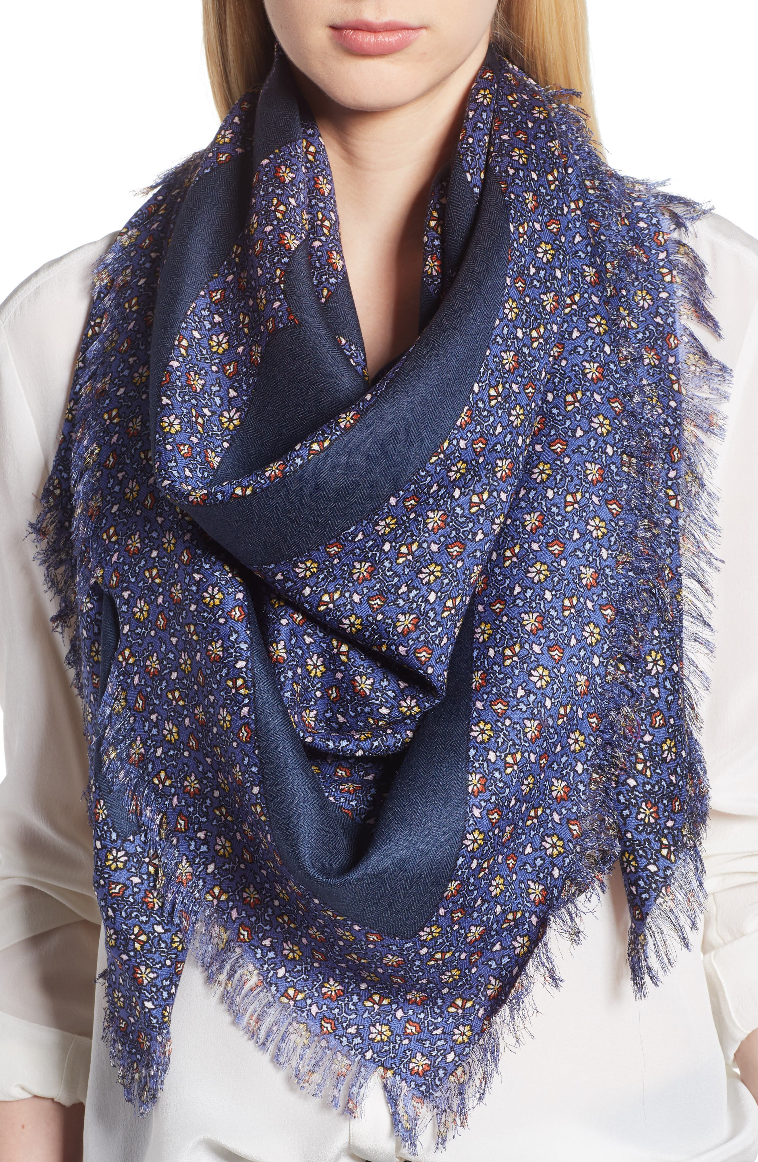 Wild Pansy Logo Square Scarf,                         Main,                         color, Blue Wild Pansy