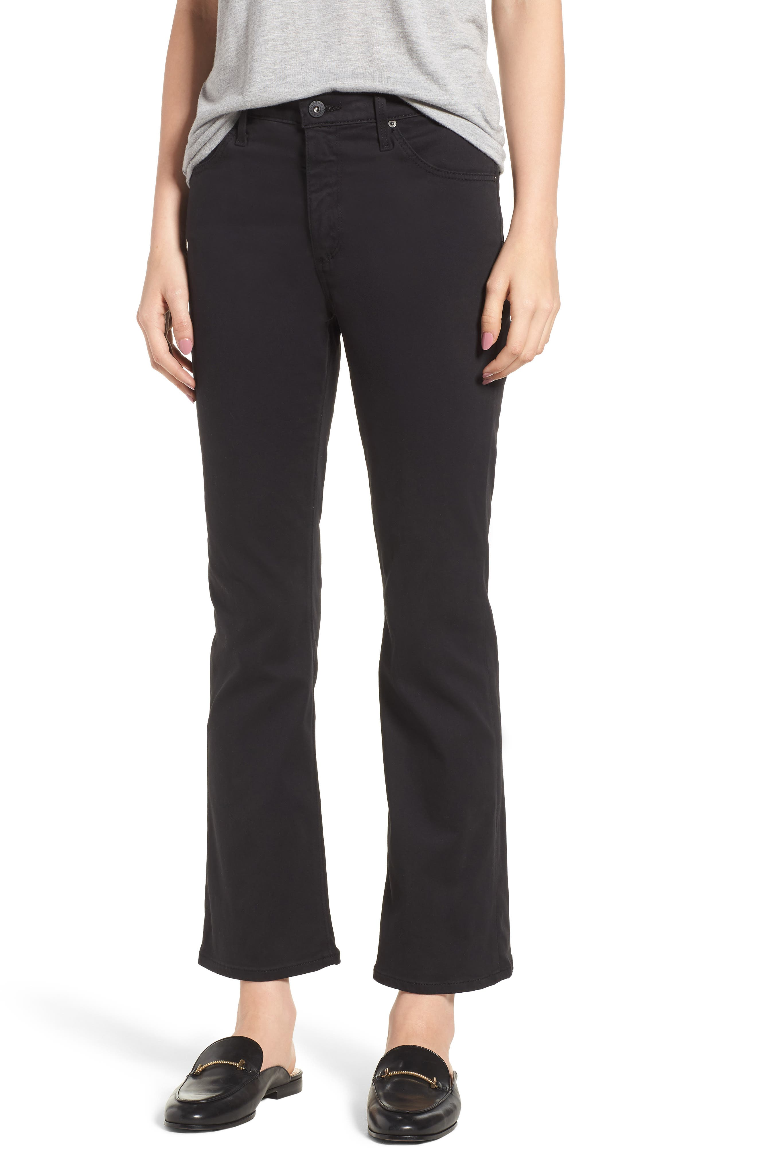 Jodi Sateen Crop Flare Jeans,                             Main thumbnail 1, color,                             Super Black
