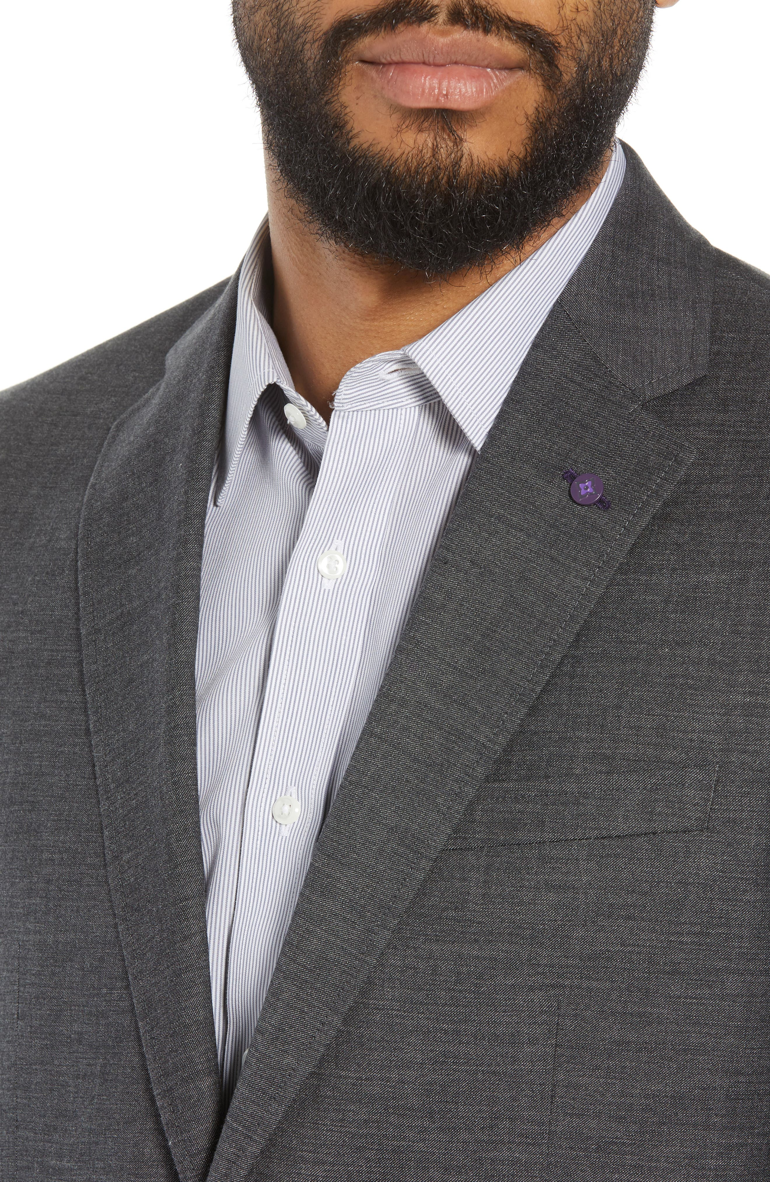 Jay Trim Fit Heathered Wool & Cotton Sport Coat,                             Alternate thumbnail 4, color,                             Grey
