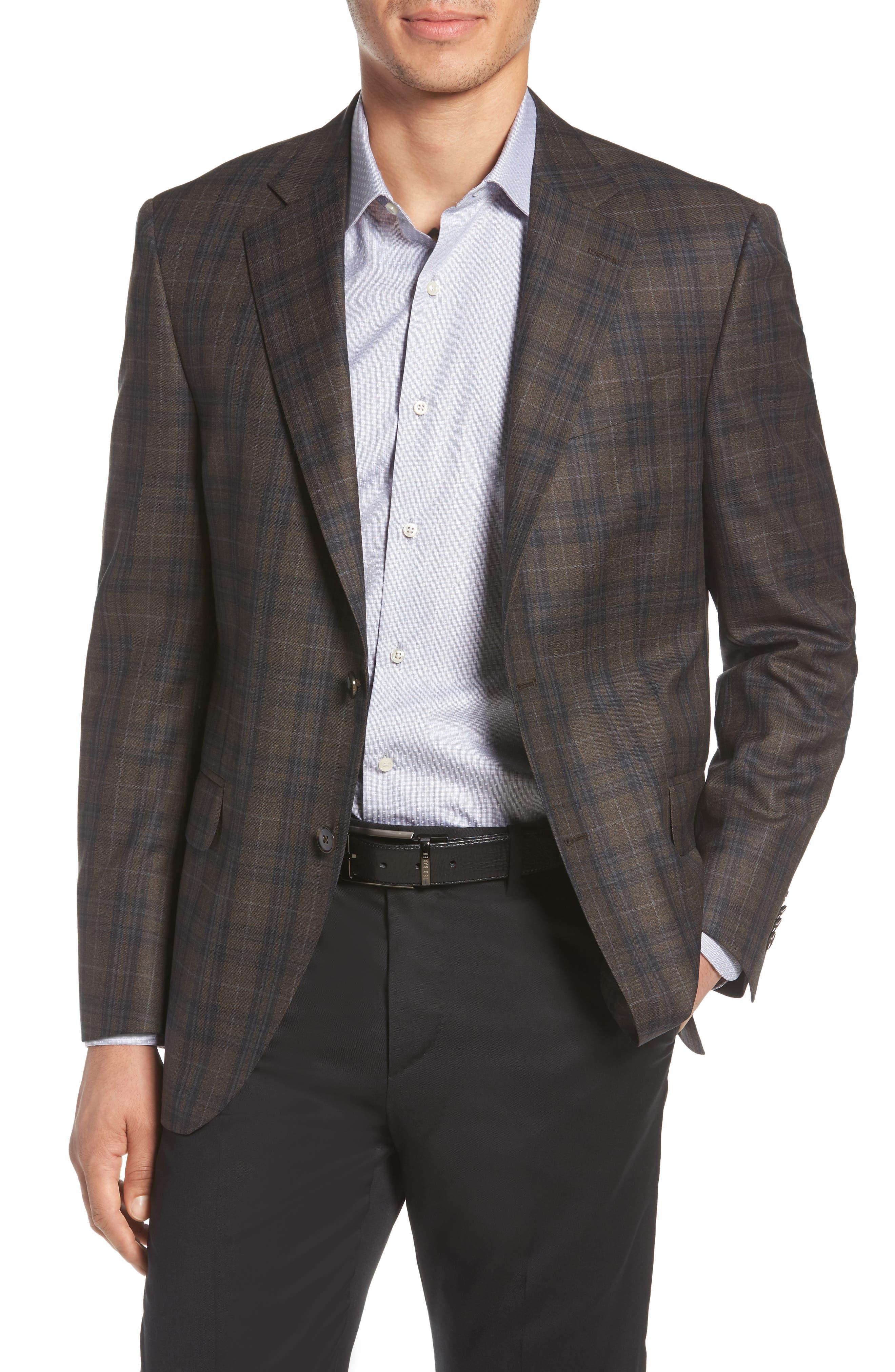 Classic Fit Plaid Wool Sport Coat,                         Main,                         color, Brown