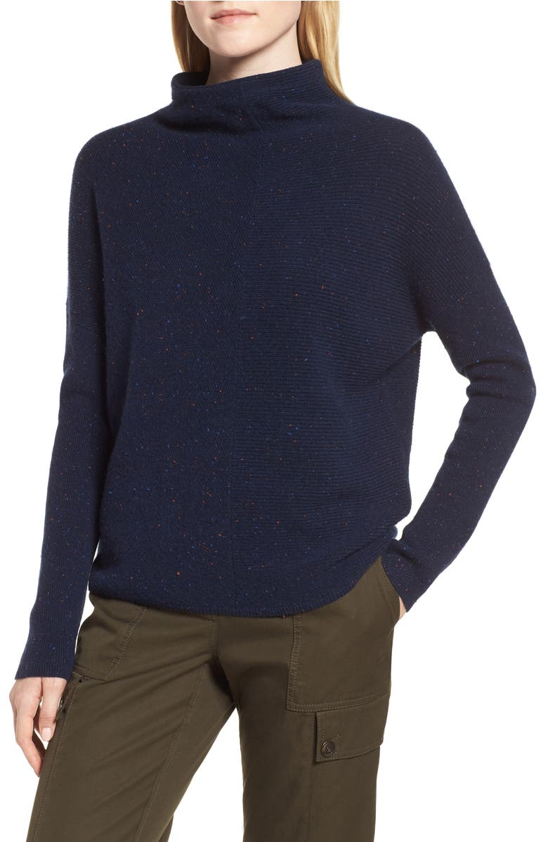 Cashmere Directional Rib Mock Neck Sweater | Nordstrom