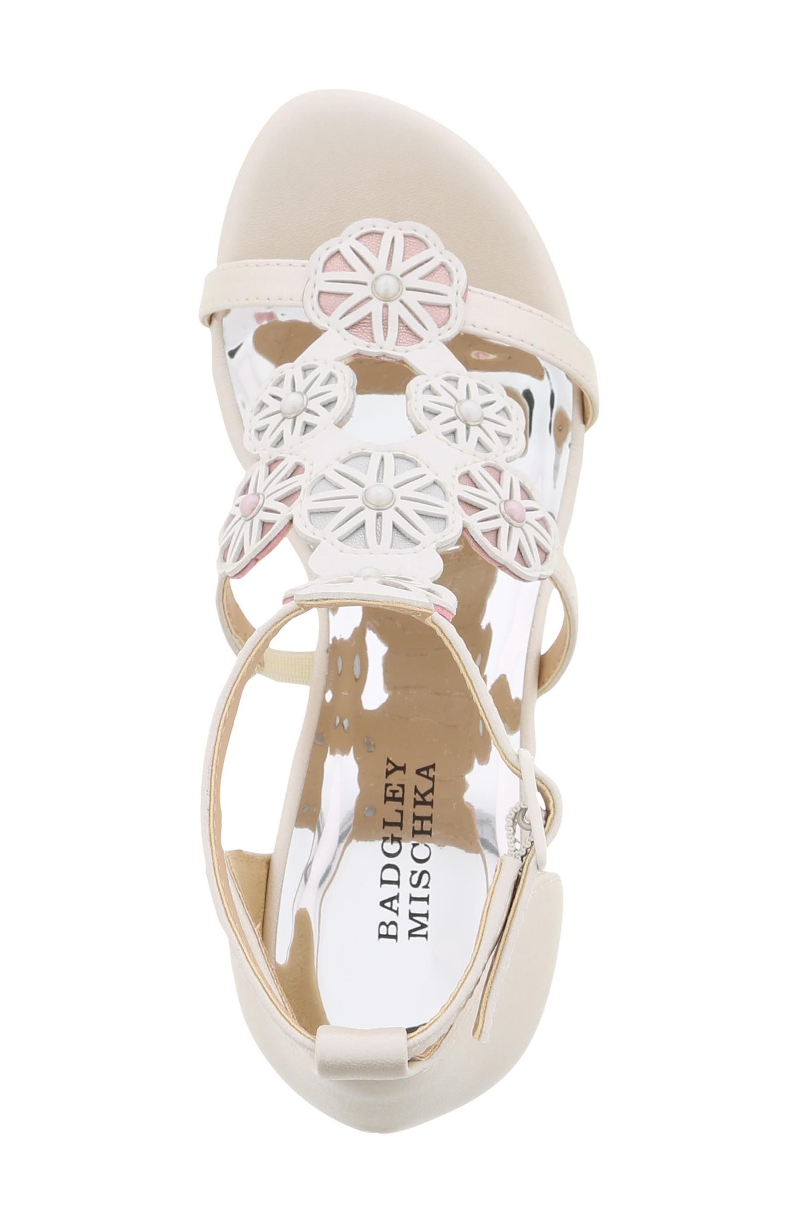 Sophia Flora Wedge Sandal,                             Alternate thumbnail 5, color,                             Pearlized White Multi