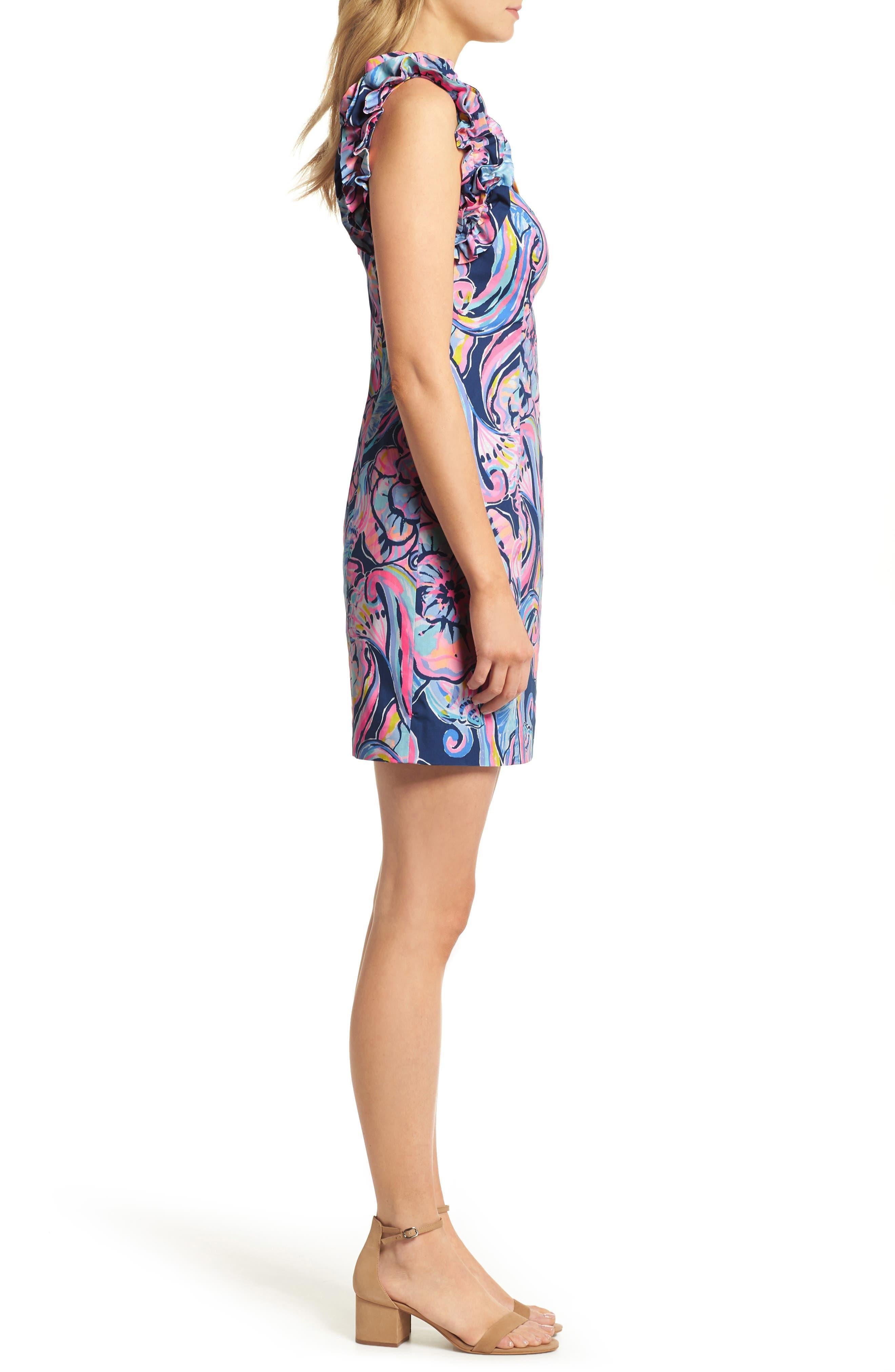Devina Ruffle Strap Dress,                             Alternate thumbnail 3, color,                             Nautical Navy
