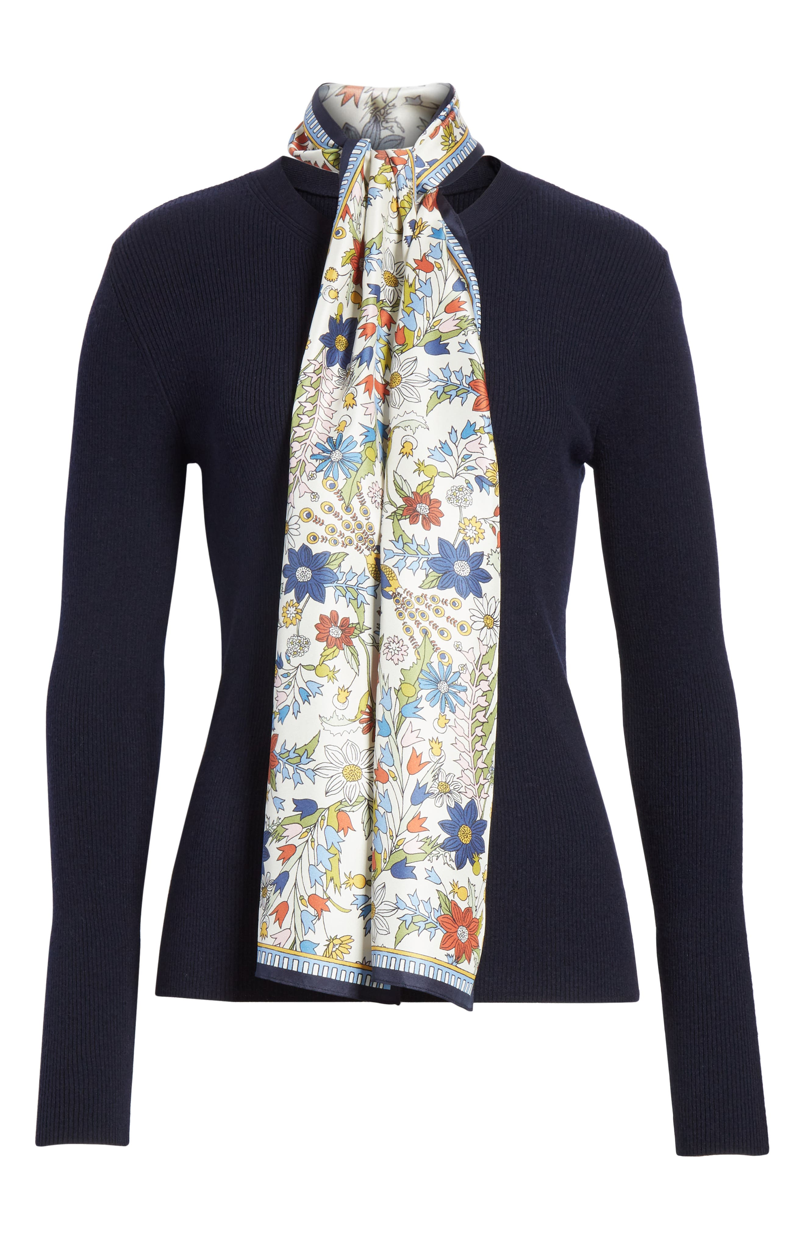 Laura Rib Knit Sweater & Silk Scarf,                             Alternate thumbnail 7, color,                             Tory Navy