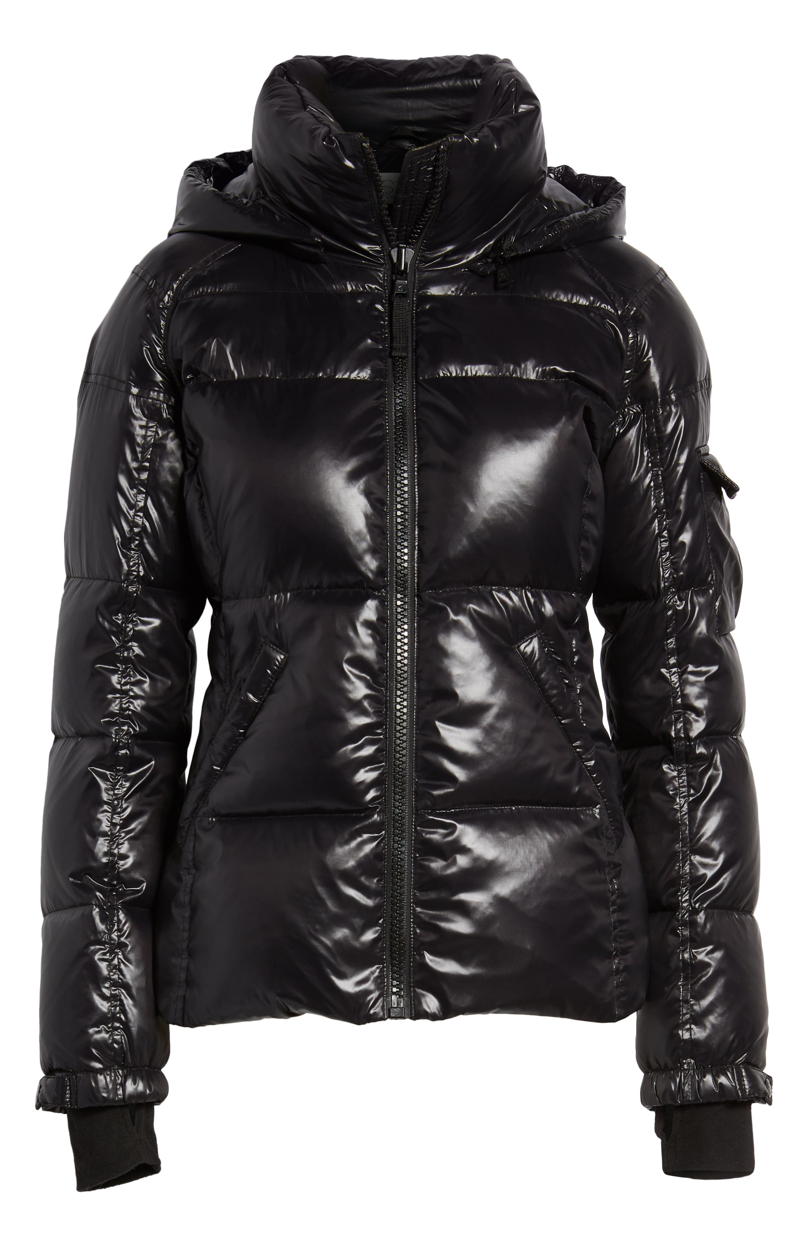 Kylie Metallic Quilted Jacket with Removable Hood,                             Alternate thumbnail 7, color,                             Jet