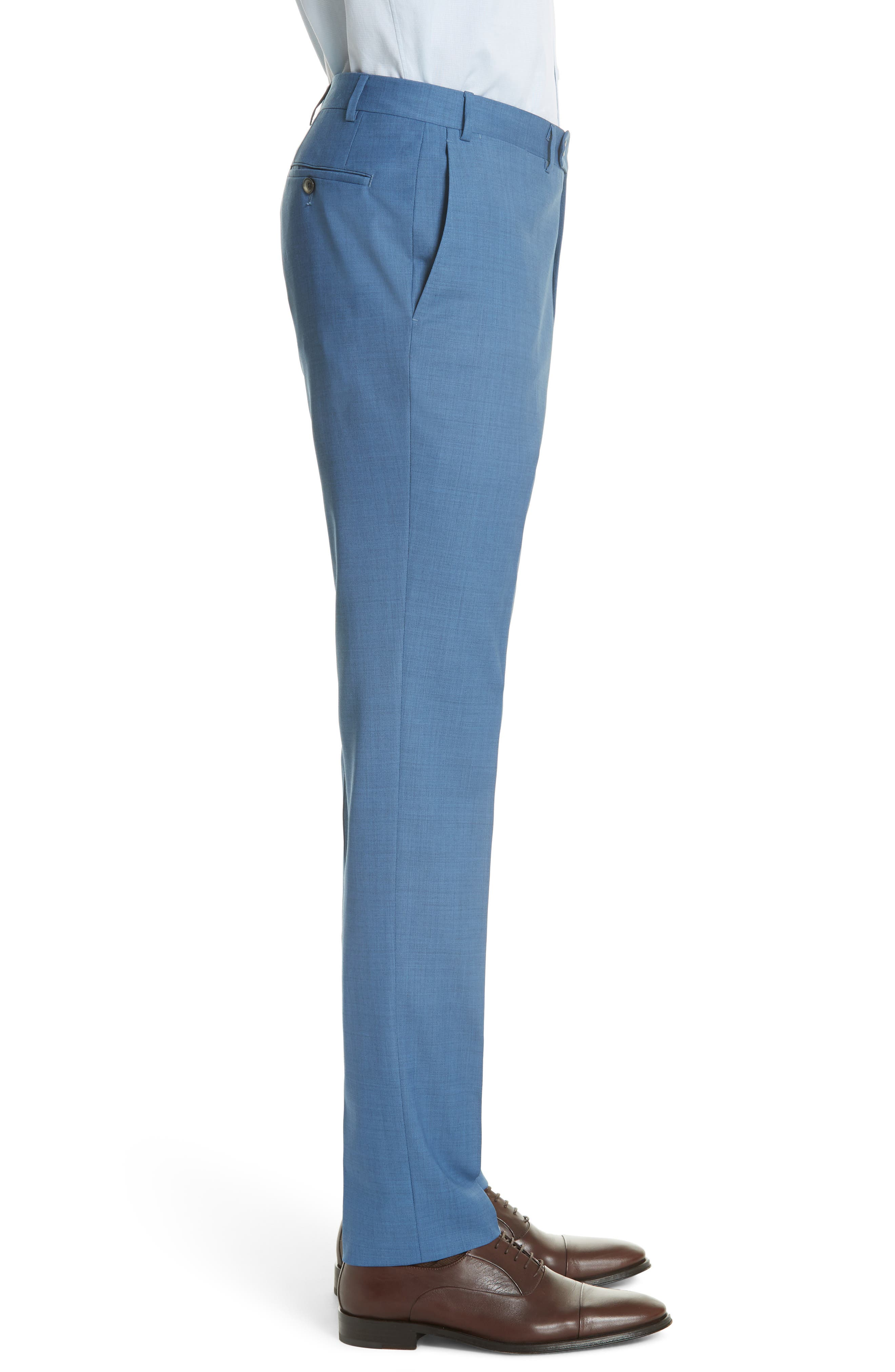 Kei Flat Front Solid Wool Trousers,                             Alternate thumbnail 3, color,                             Blue