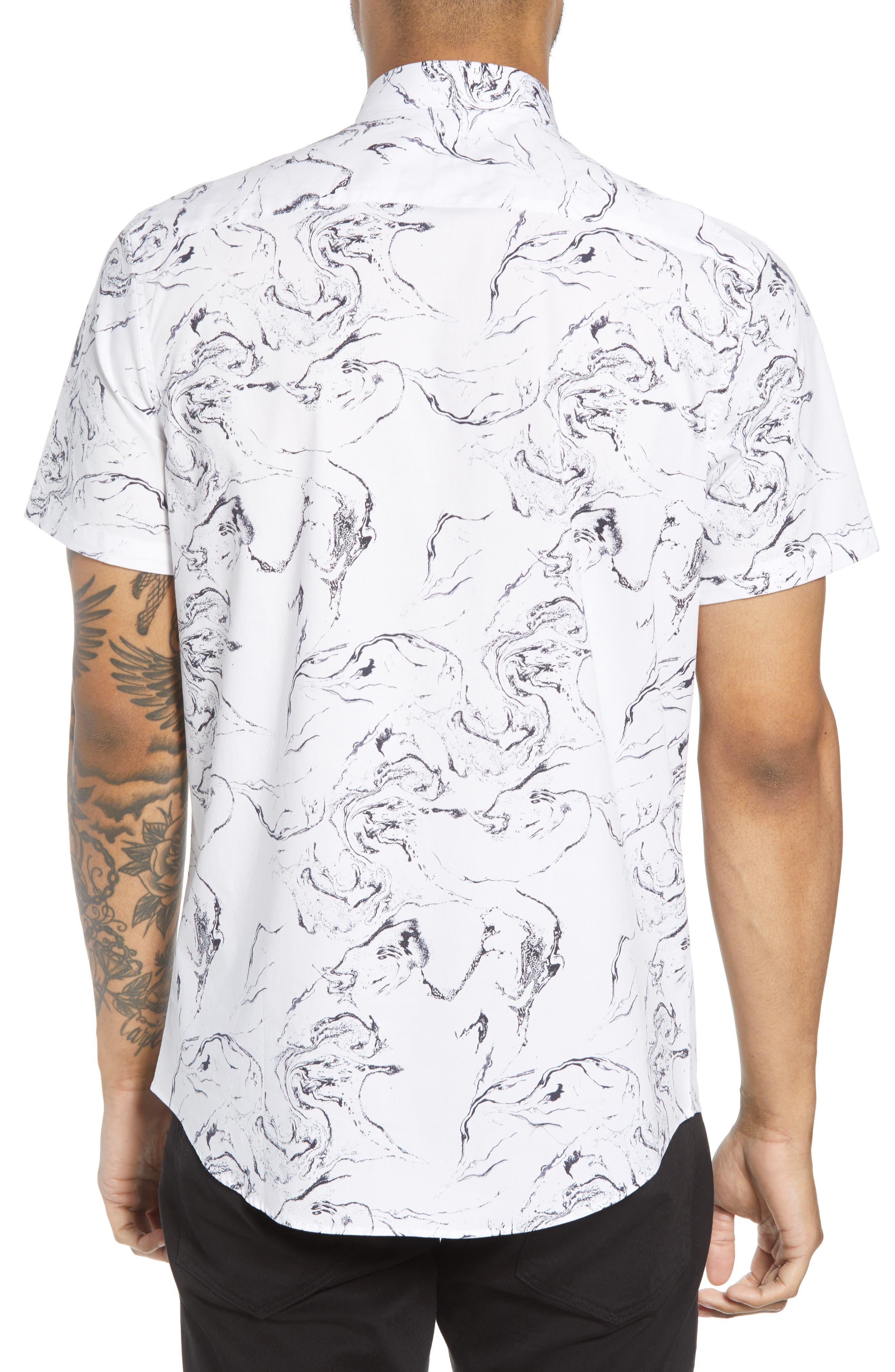Trim Fit Stretch Print Short Sleeve Sport Shirt,                             Alternate thumbnail 3, color,                             White Marble Print