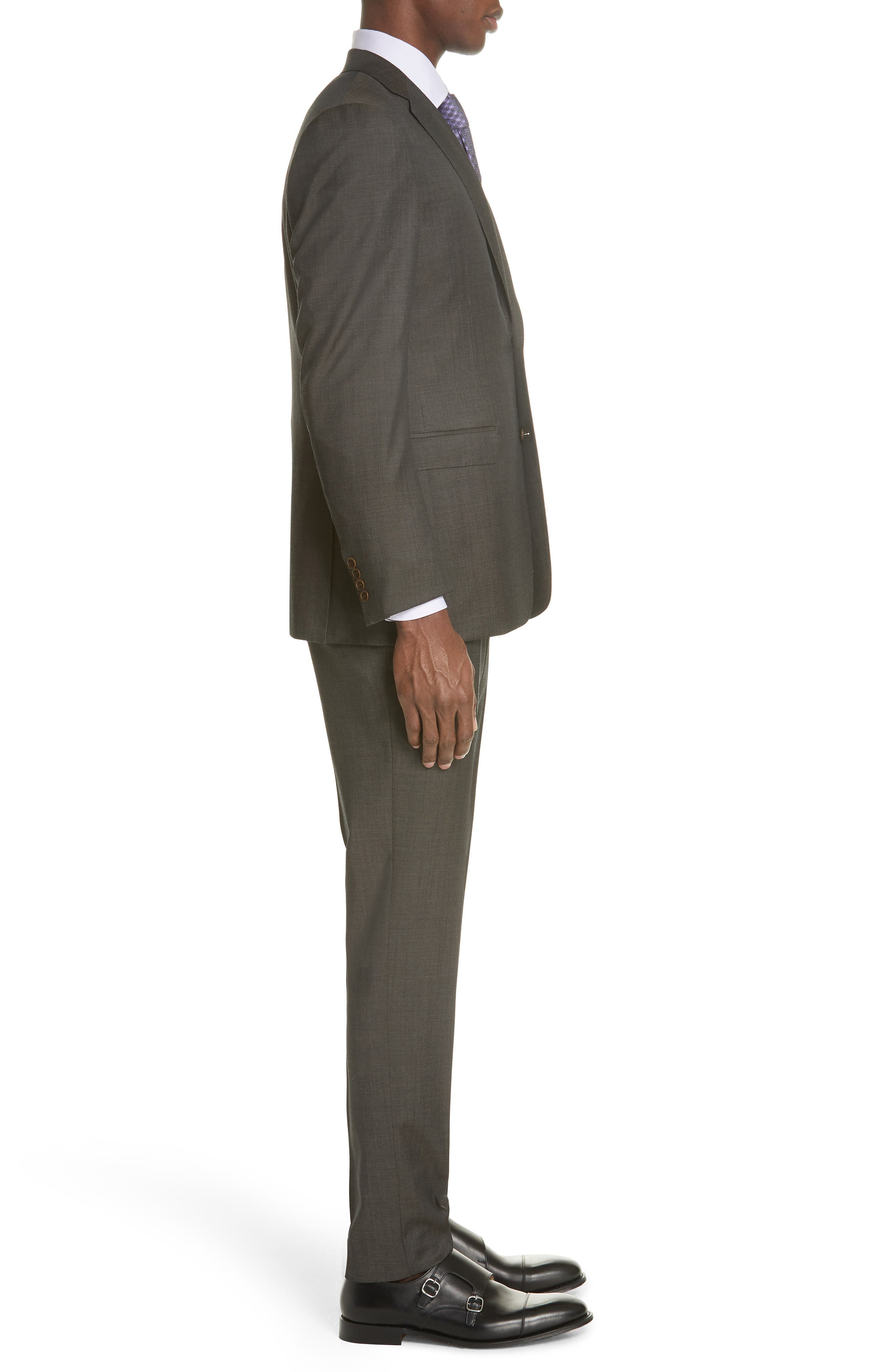 Classic Fit Solid Wool Suit,                             Alternate thumbnail 3, color,                             Grey