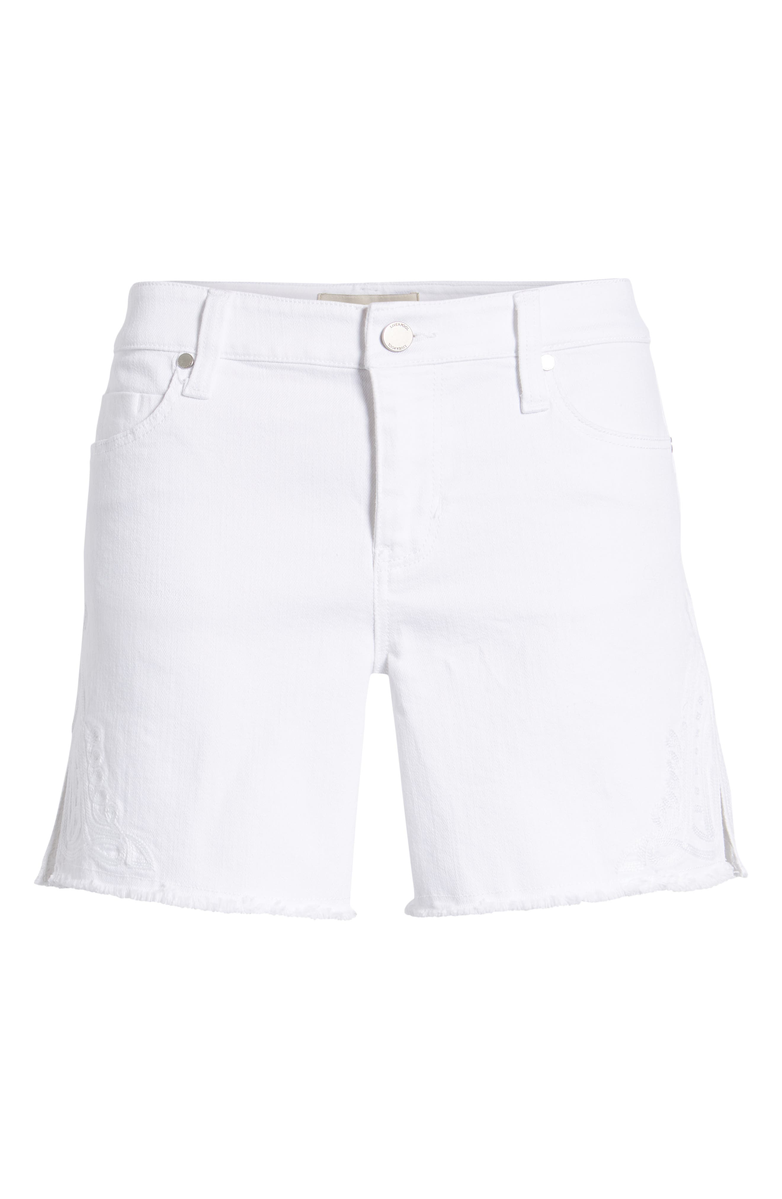 Embroidered Side Slit Shorts,                             Alternate thumbnail 6, color,                             Bright White
