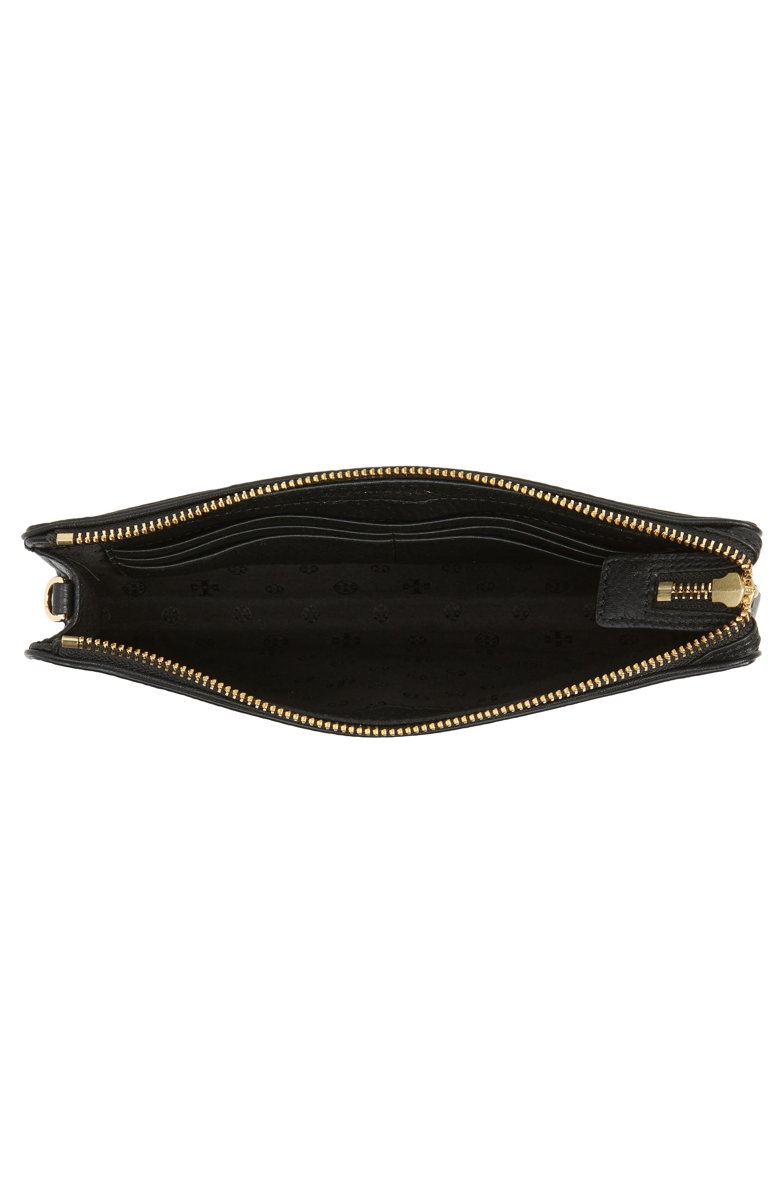 Marsden Leather Wallet Crossbody Bag,                             Alternate thumbnail 4, color,                             Black