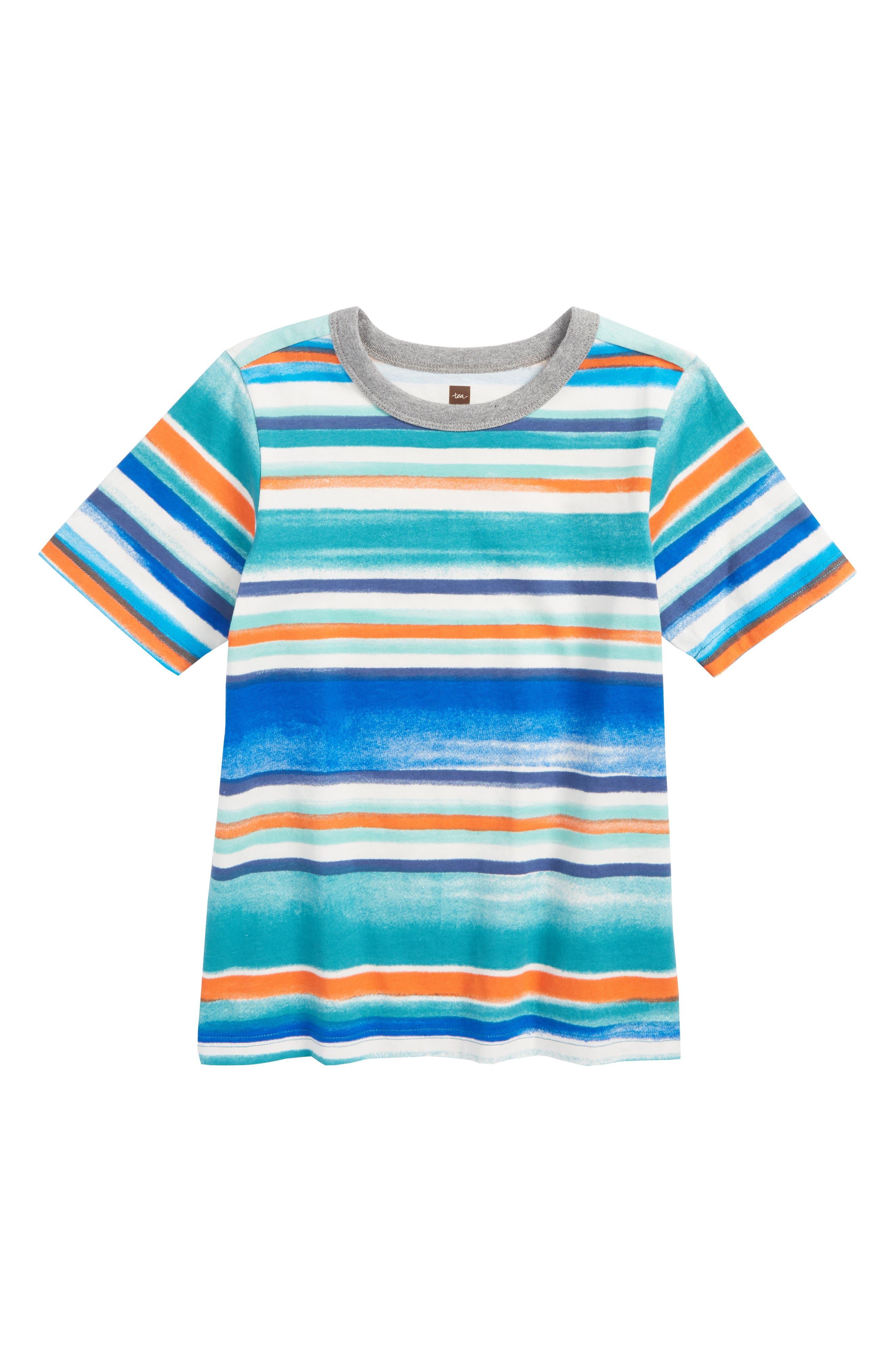 Painterly Stripe T-Shirt,                             Main thumbnail 1, color,                             Southwest Sky