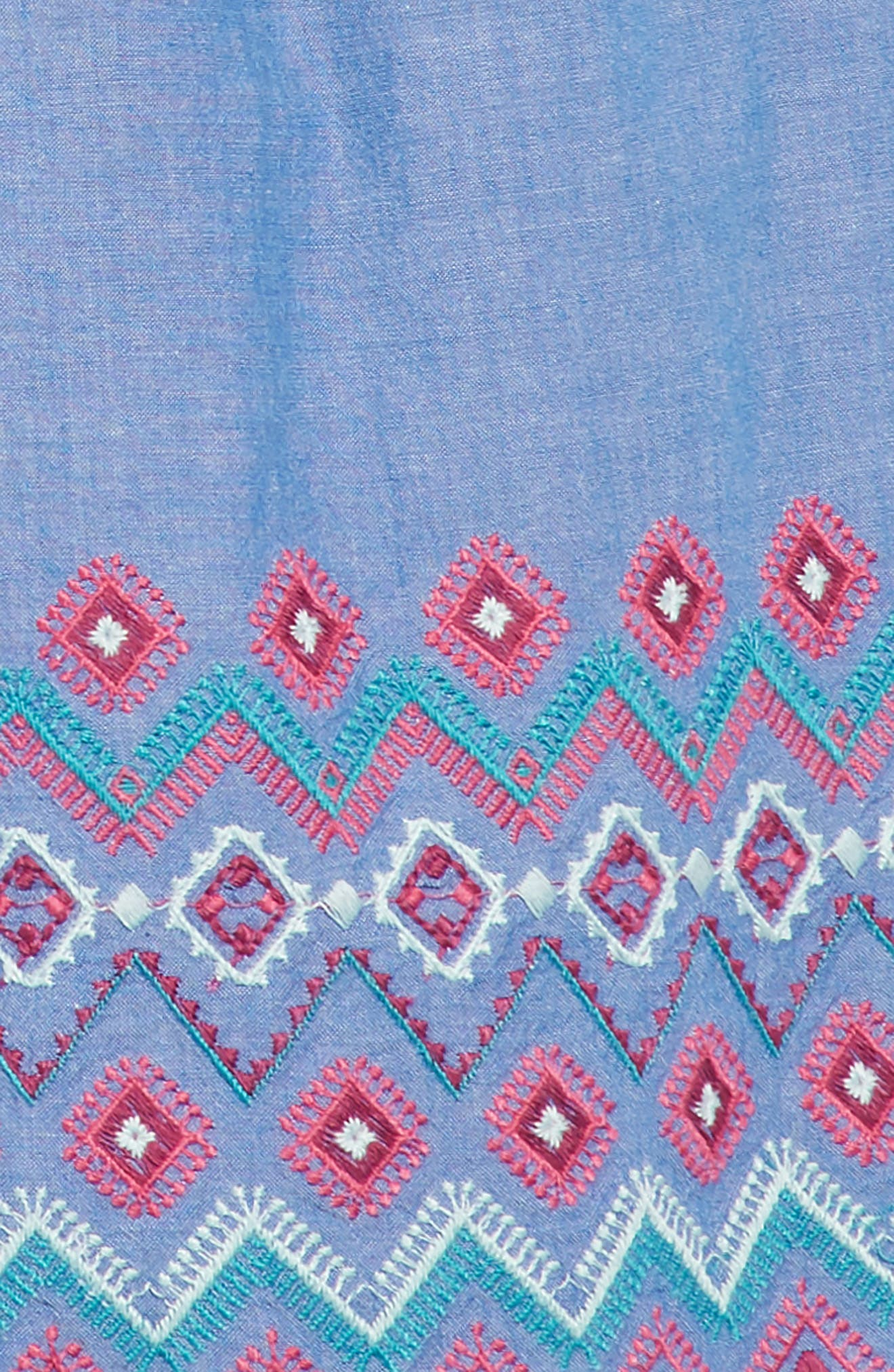 Melia Embroidered Chambray Sundress,                             Alternate thumbnail 3, color,                             Chambray
