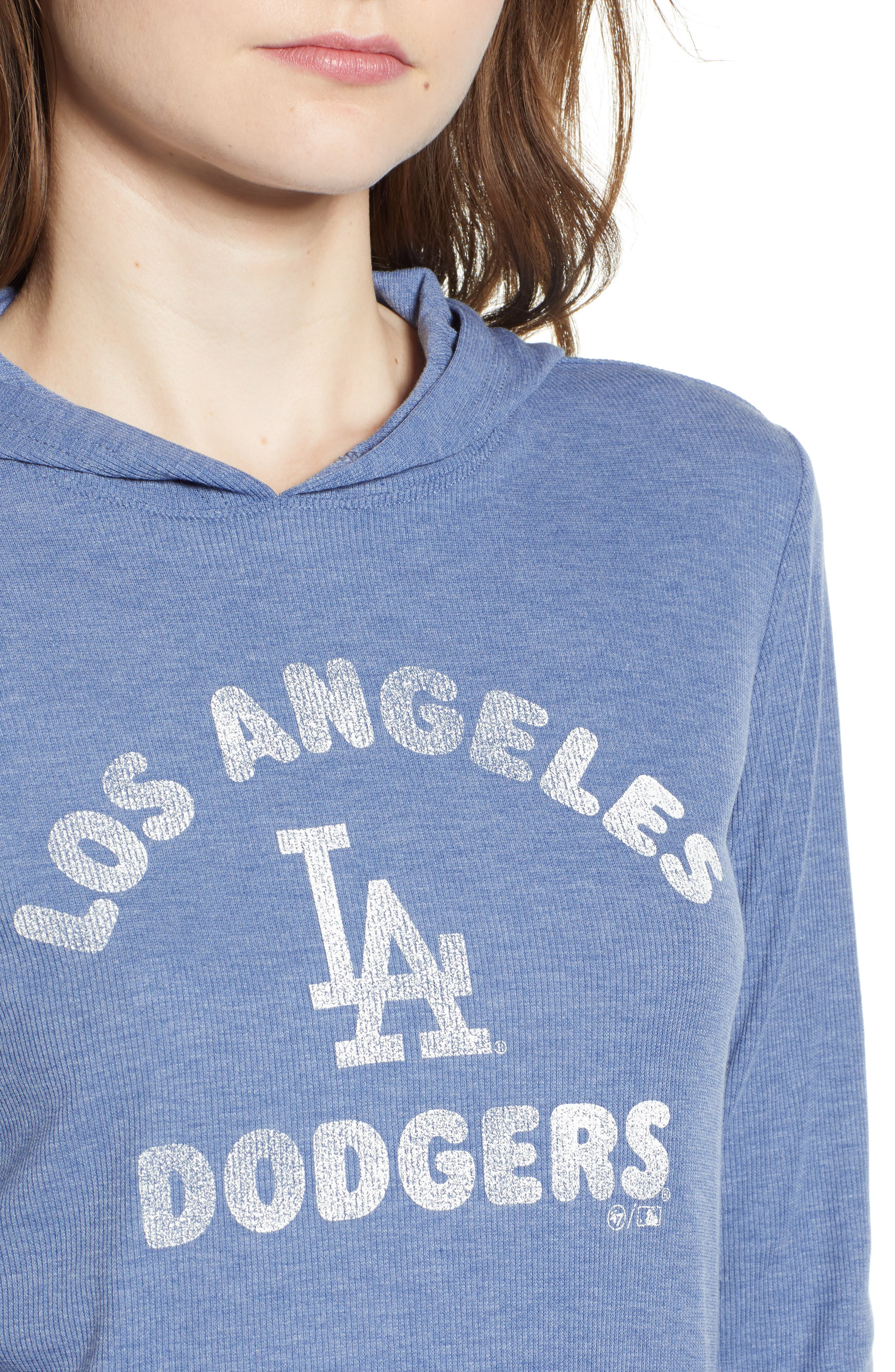 Campbell Los Angeles Dodgers Rib Knit Hooded Top,                             Alternate thumbnail 4, color,                             Bleacher Blue