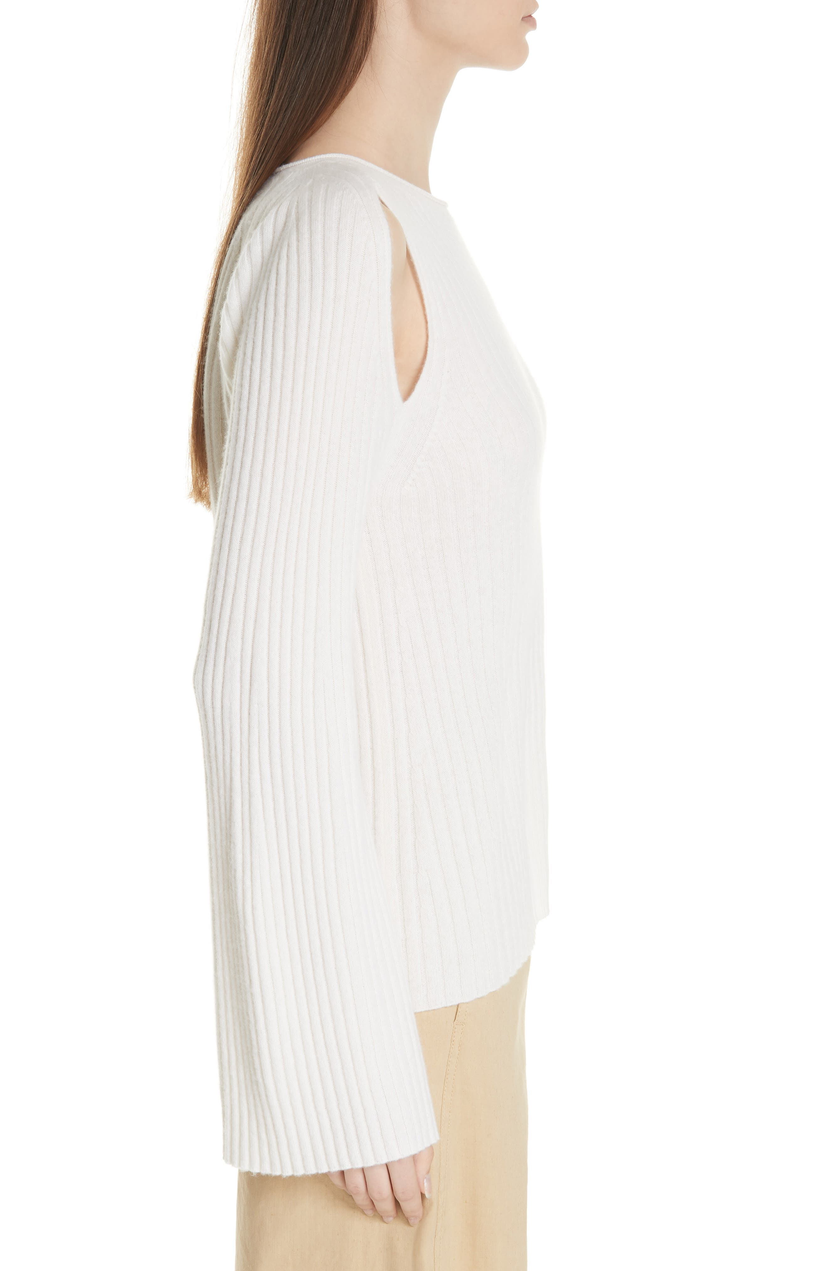 Shoulder Slit Cashmere Crewneck Sweater,                             Alternate thumbnail 3, color,                             Off White