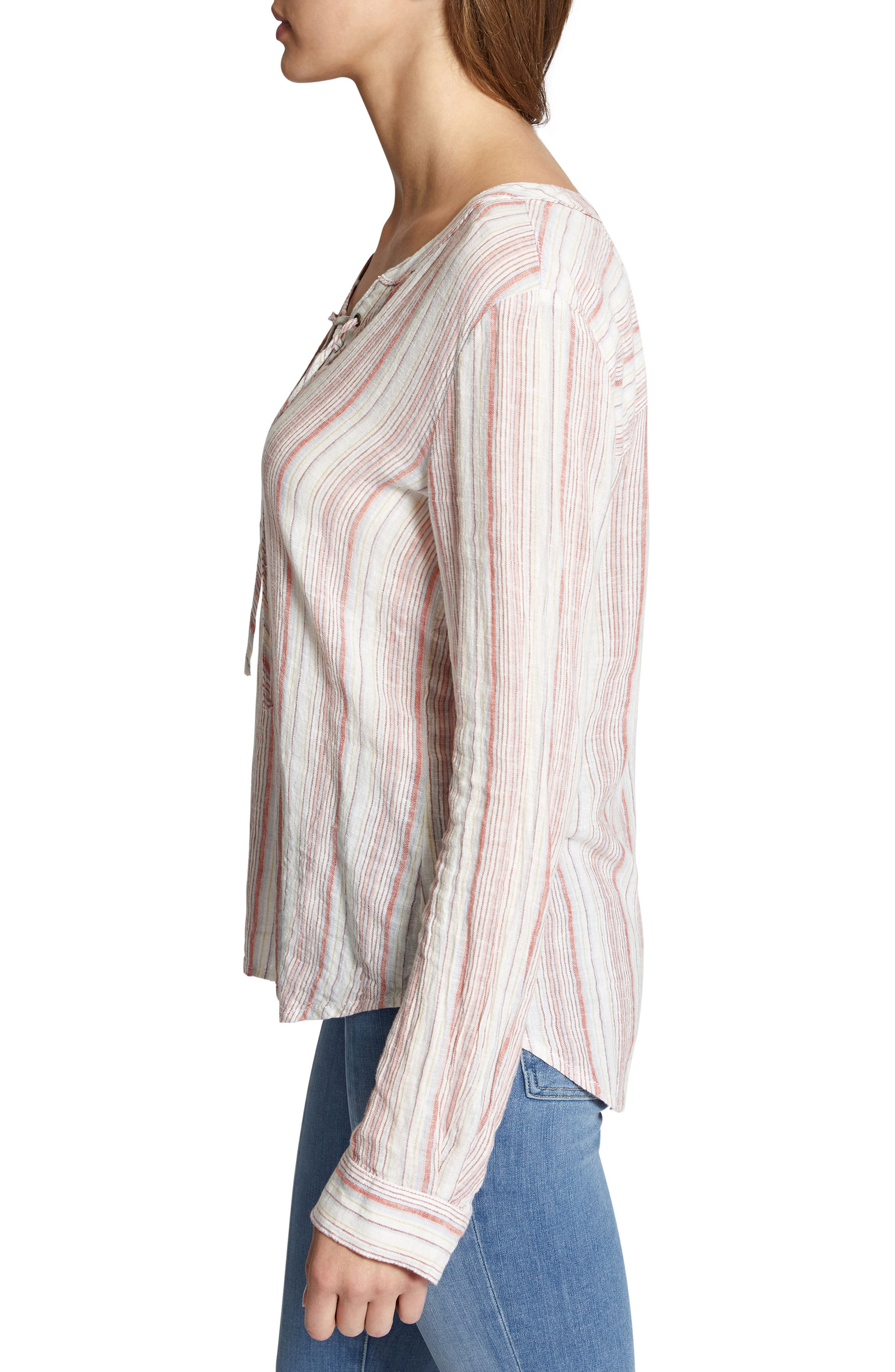Tommie Lace-Up Stripe Shirt,                             Alternate thumbnail 3, color,                             Desert Stripe
