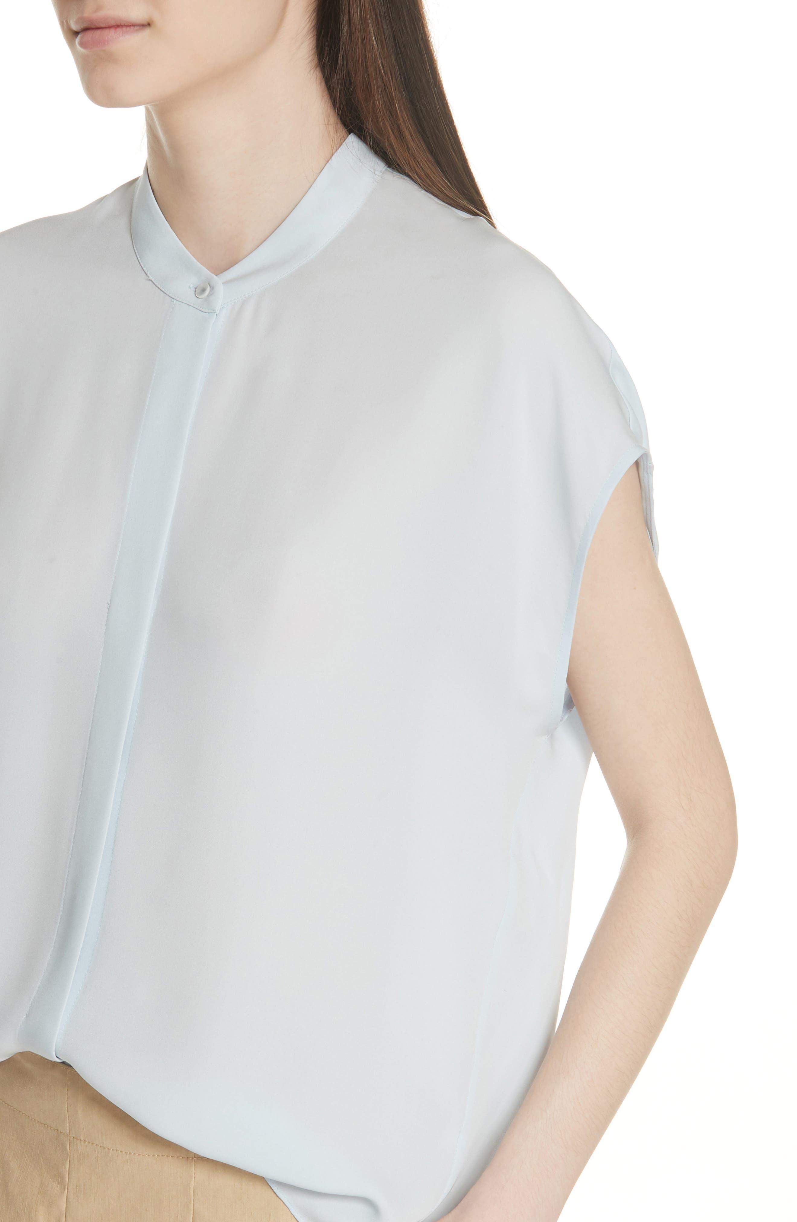 Back Slit Silk Top,                             Alternate thumbnail 4, color,                             Ice